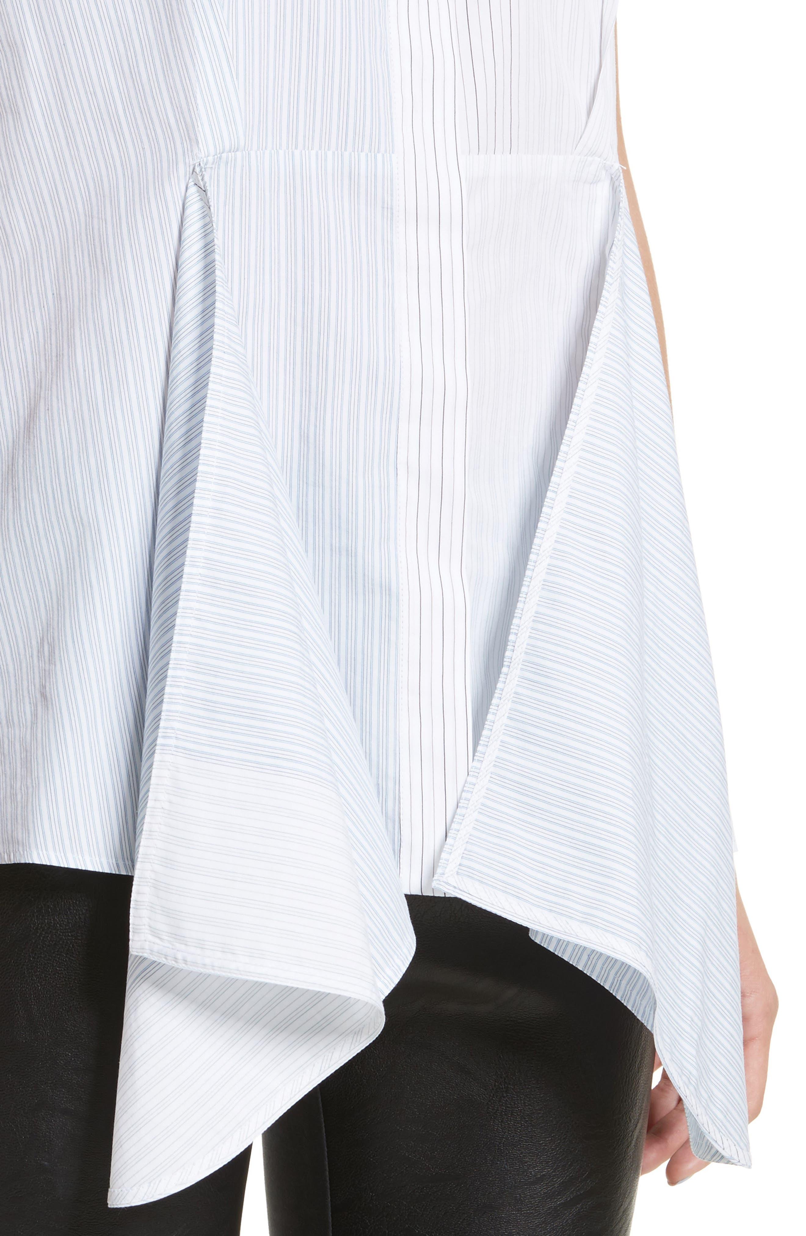 Ruffle Peplum Cotton & Silk Top,                             Alternate thumbnail 4, color,                             108