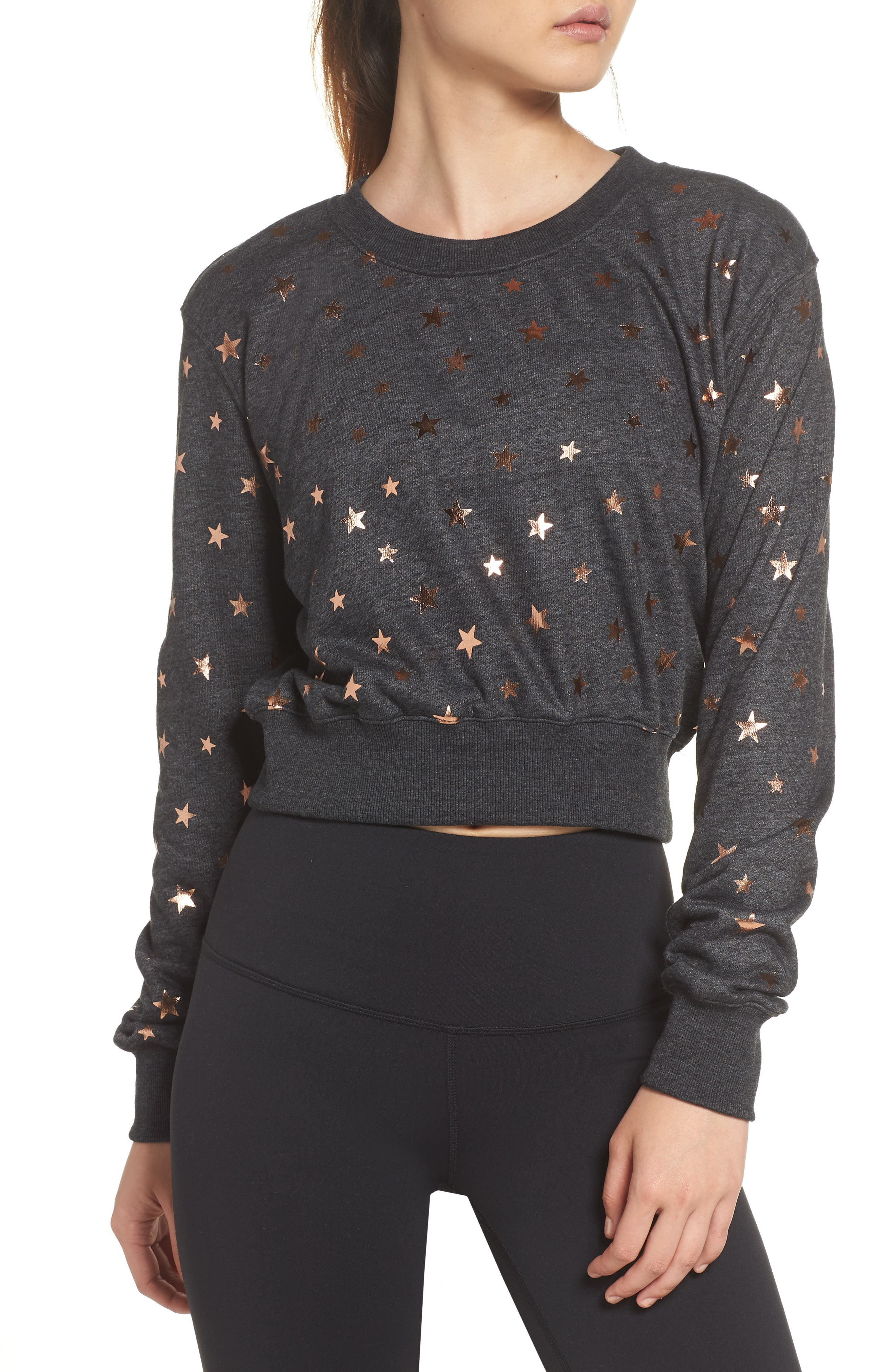 Stars Crop Pullover,                         Main,                         color, STARRY VIBES - BLACK