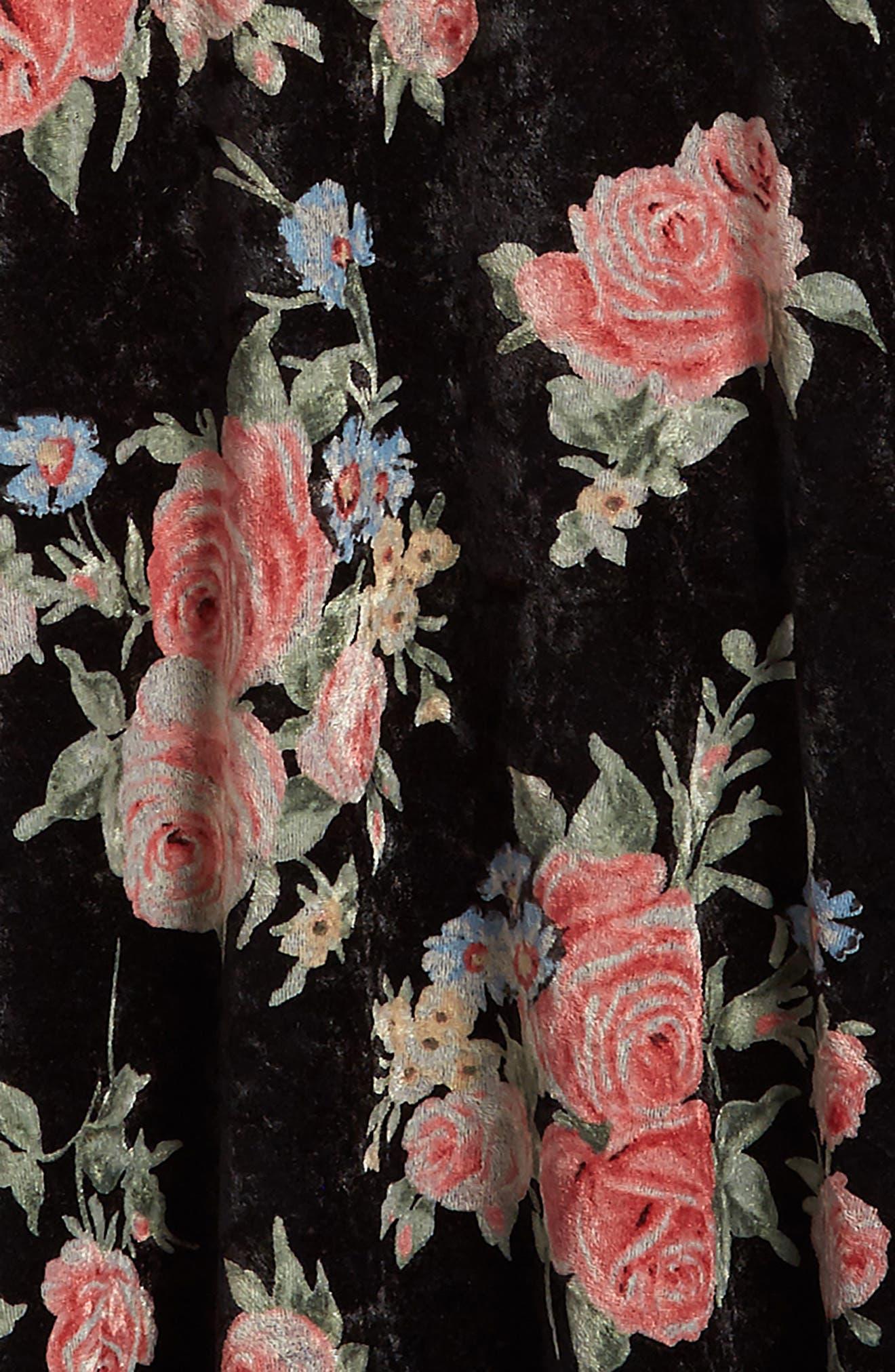Floral Print Velvet Slipdress,                             Alternate thumbnail 3, color,                             001