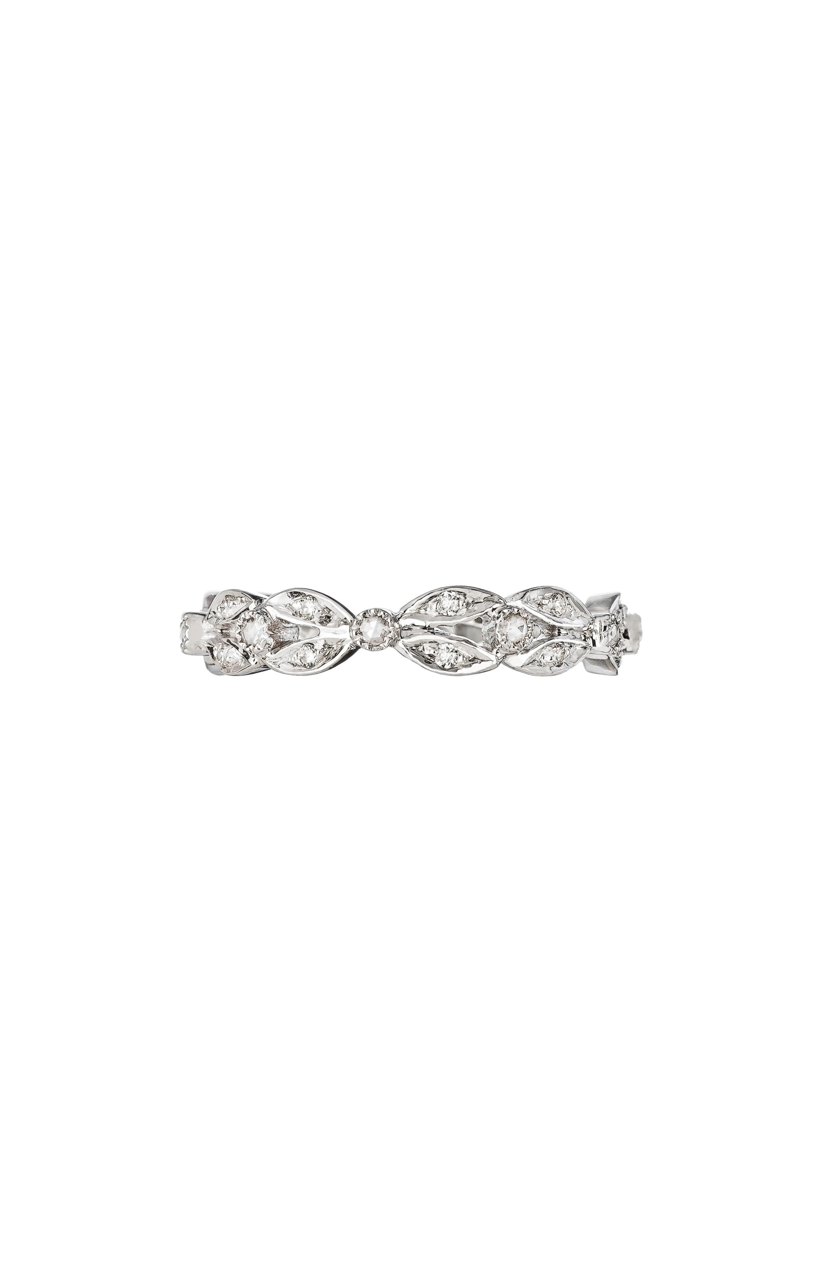 Diamond Garland Band Ring,                             Main thumbnail 1, color,                             WHITE GOLD