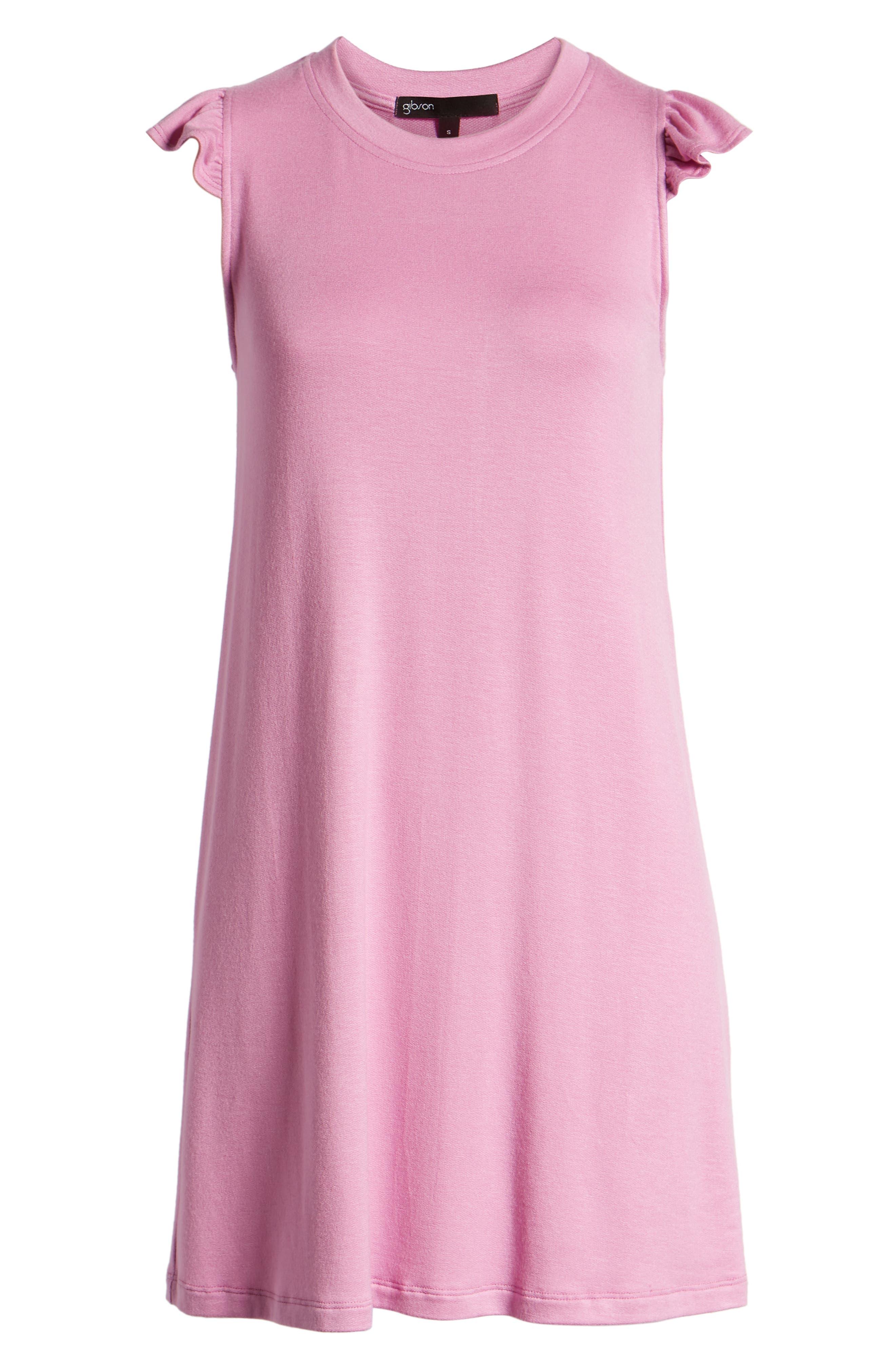 x Hi Sugarplum! Laguna Soft Jersey Ruffle Back T-Shirt Dress,                             Alternate thumbnail 7, color,                             PEONY