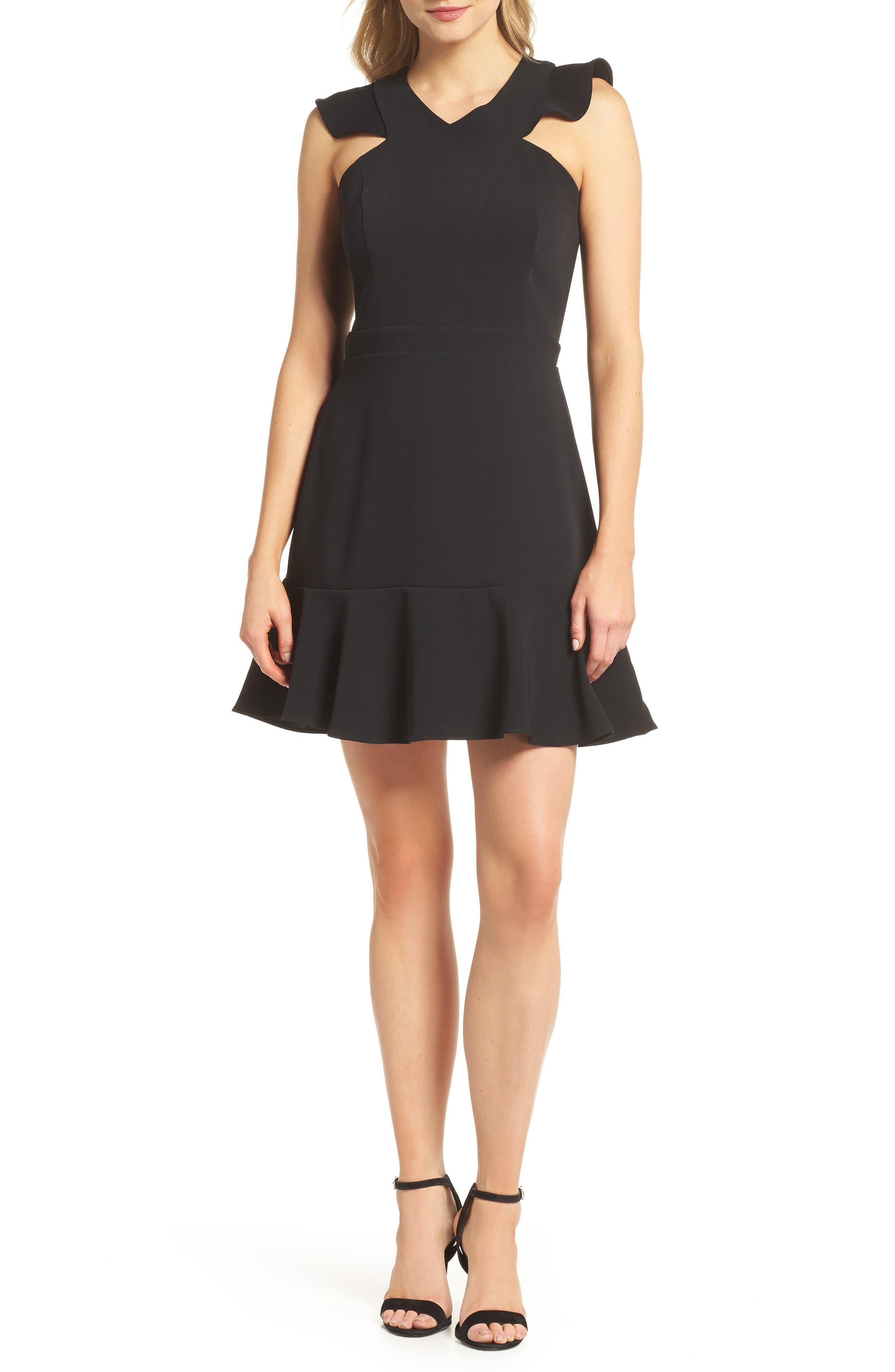 Chelsea28 Cross Front Ruffle Fit & Flare Dress, Black