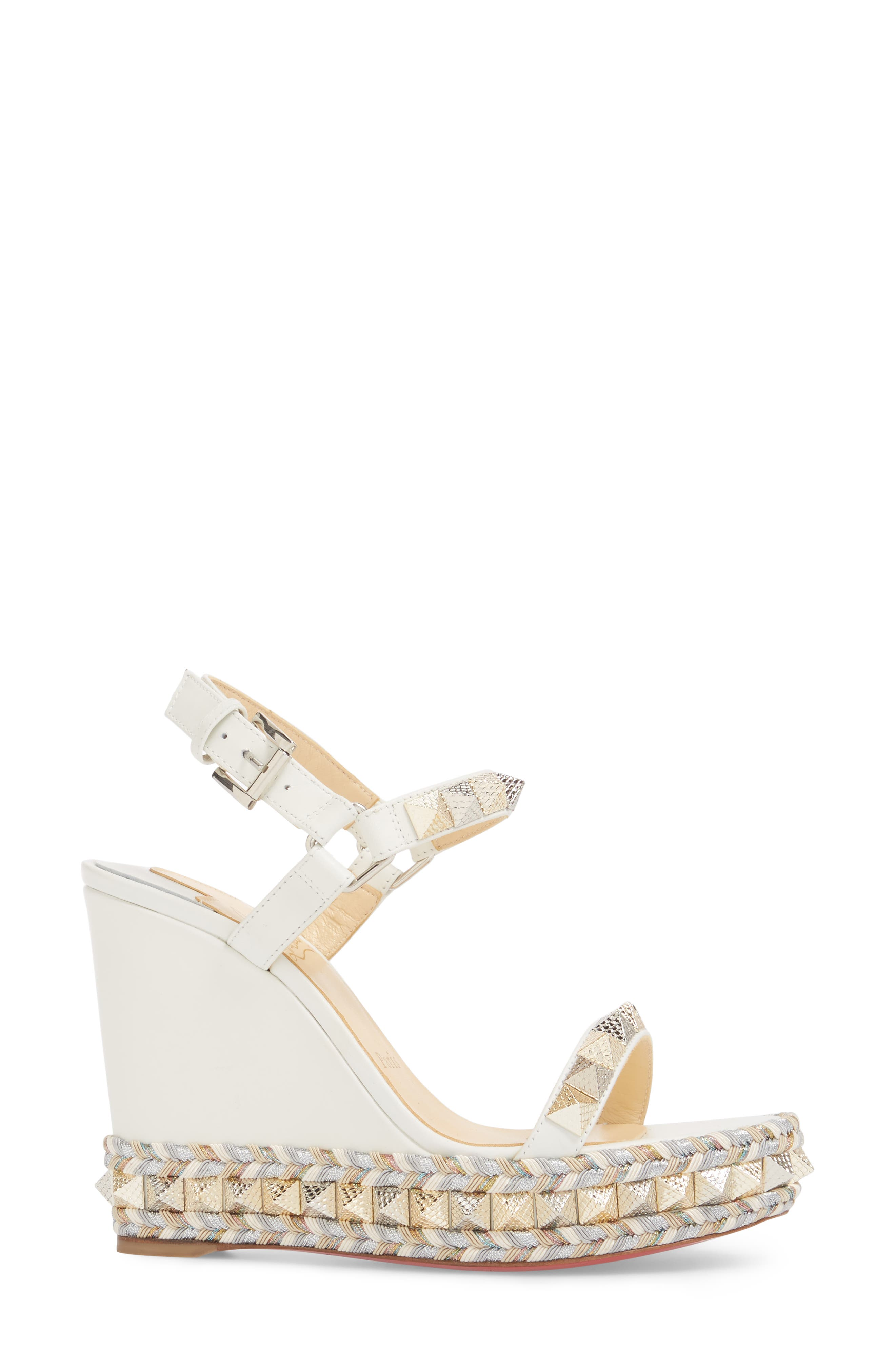 Pyraclou Wedge Sandal,                             Alternate thumbnail 3, color,                             LATTE WHITE