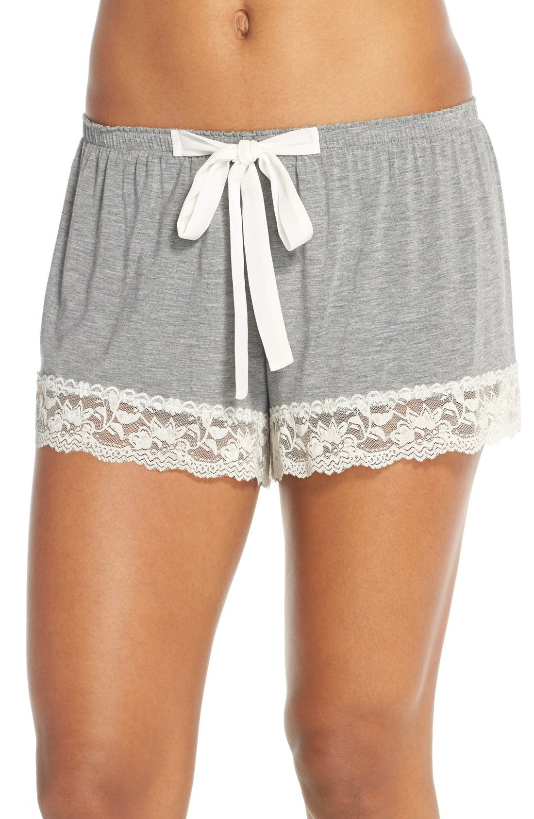 Flora Nikrooz Snuggle Lounge Shorts,                             Main thumbnail 1, color,                             HEATHER GREY