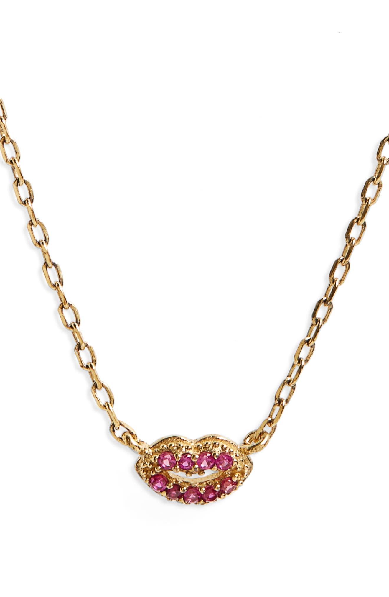 Lips Pendant Necklace,                         Main,                         color, 710