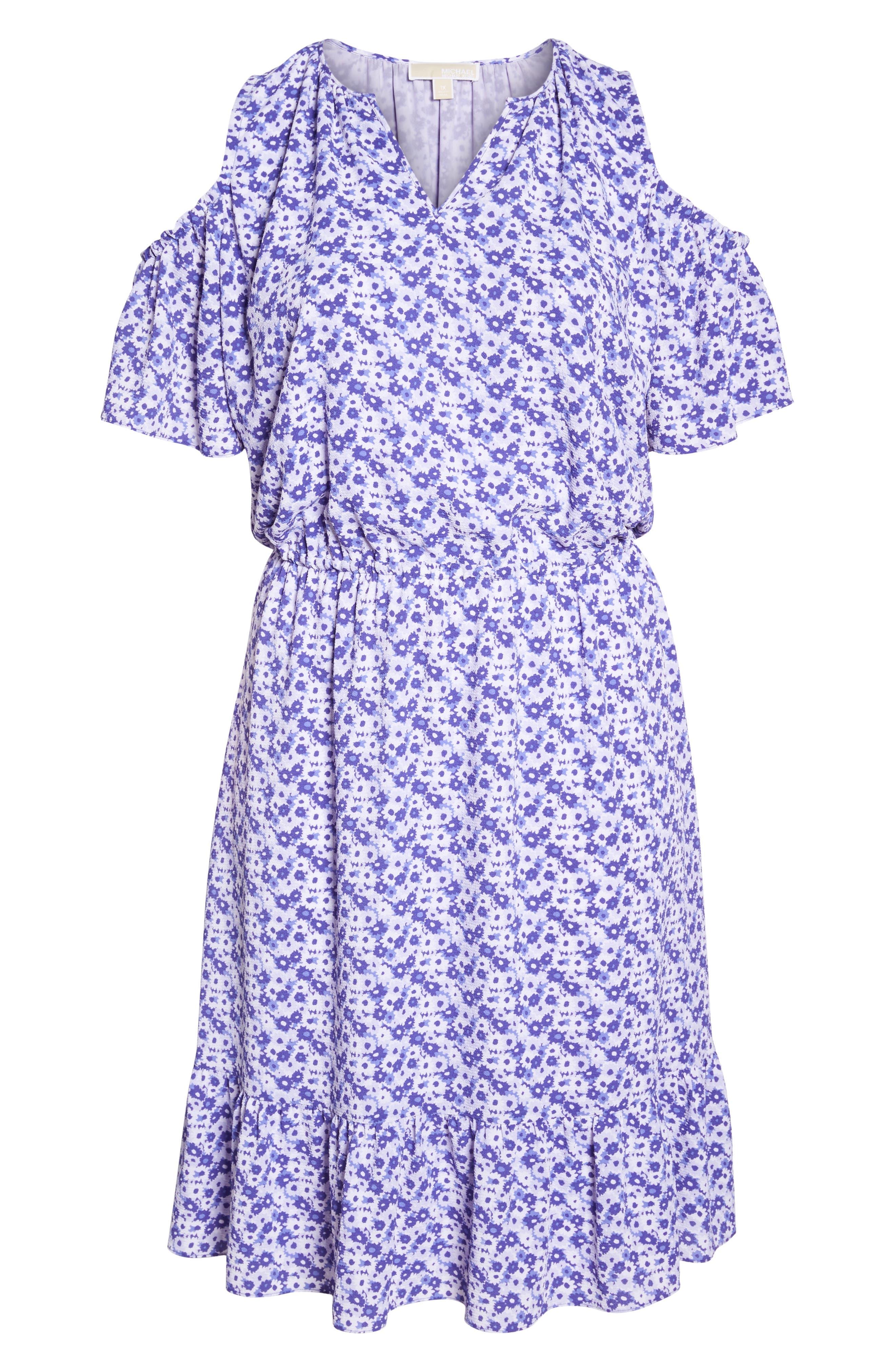 Floral Cold Shoulder Midi Dress,                             Alternate thumbnail 6, color,                             580