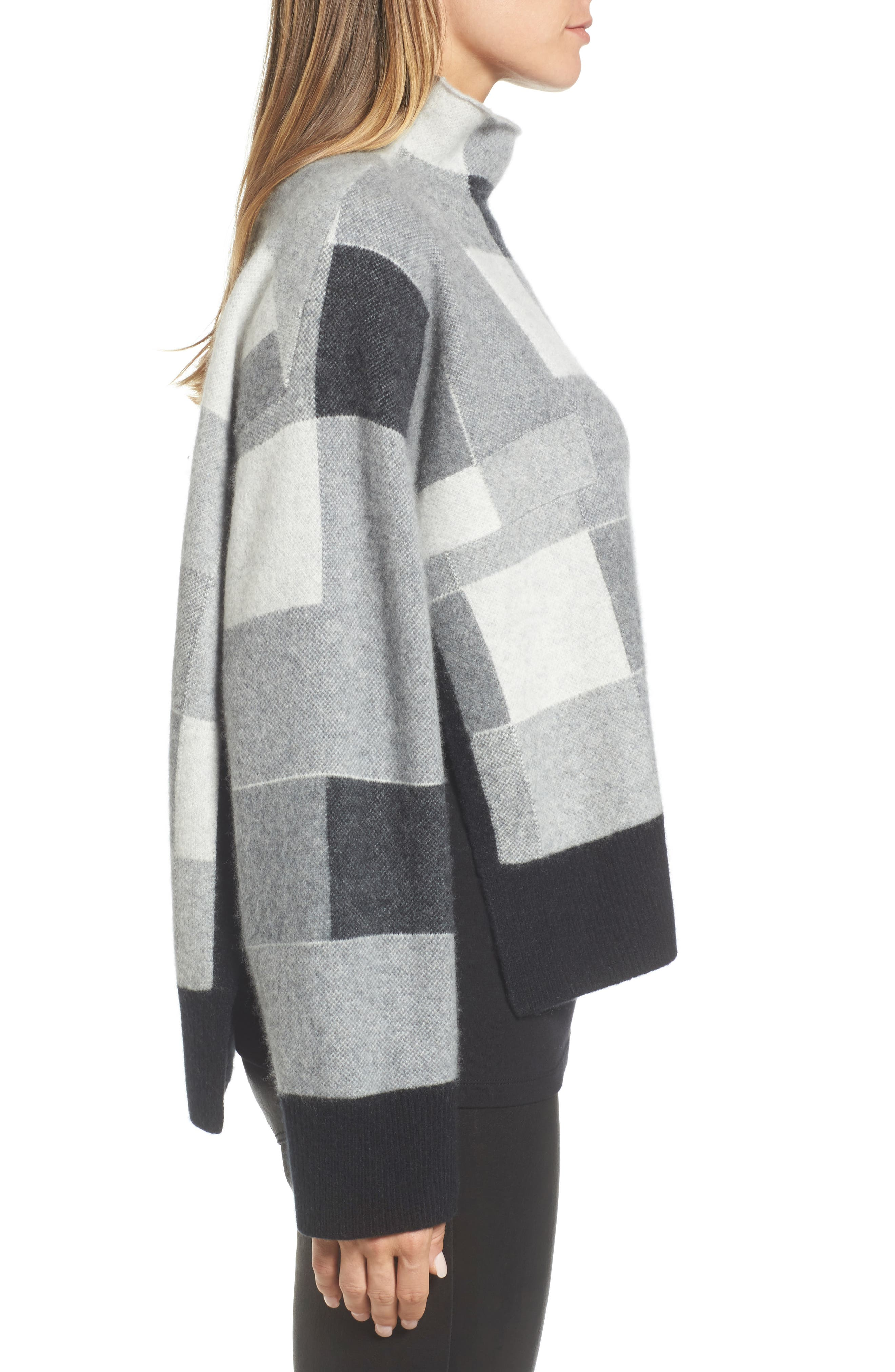 Check Plaid Cashmere Sweater,                             Alternate thumbnail 3, color,
