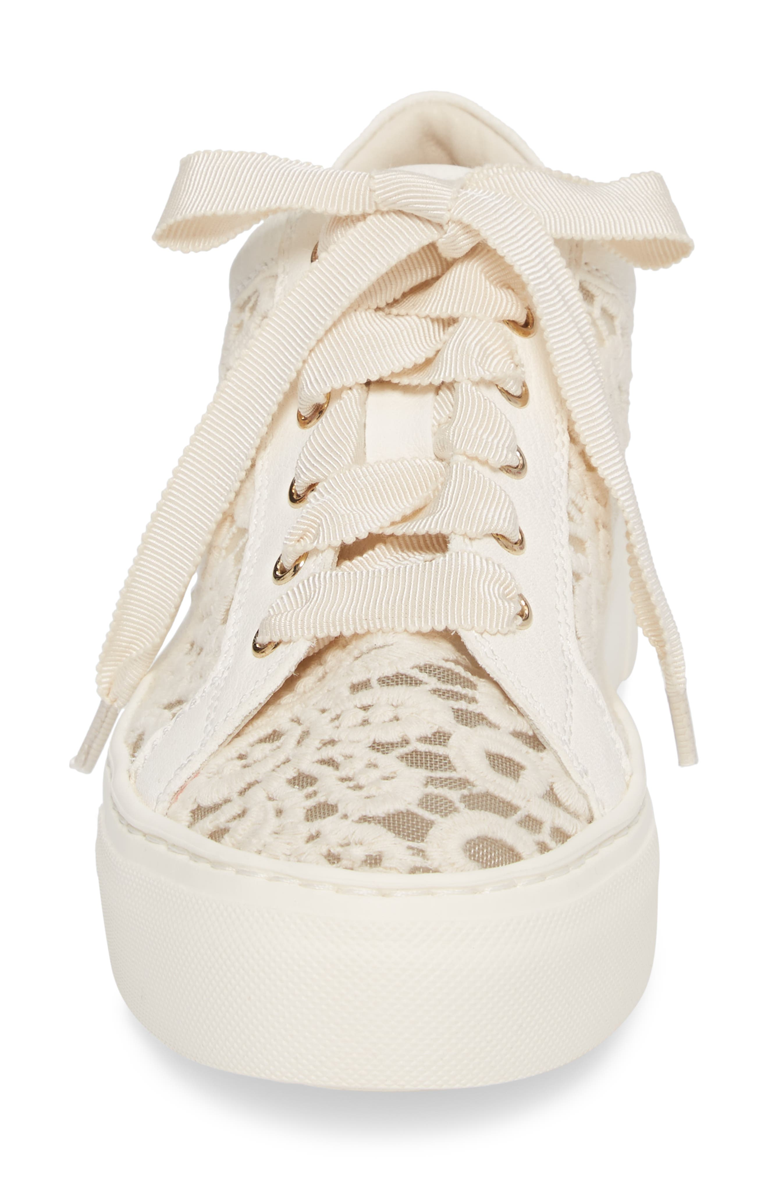 Embroidered Lace Sneaker,                             Alternate thumbnail 4, color,                             OFF WHITE LEATHER