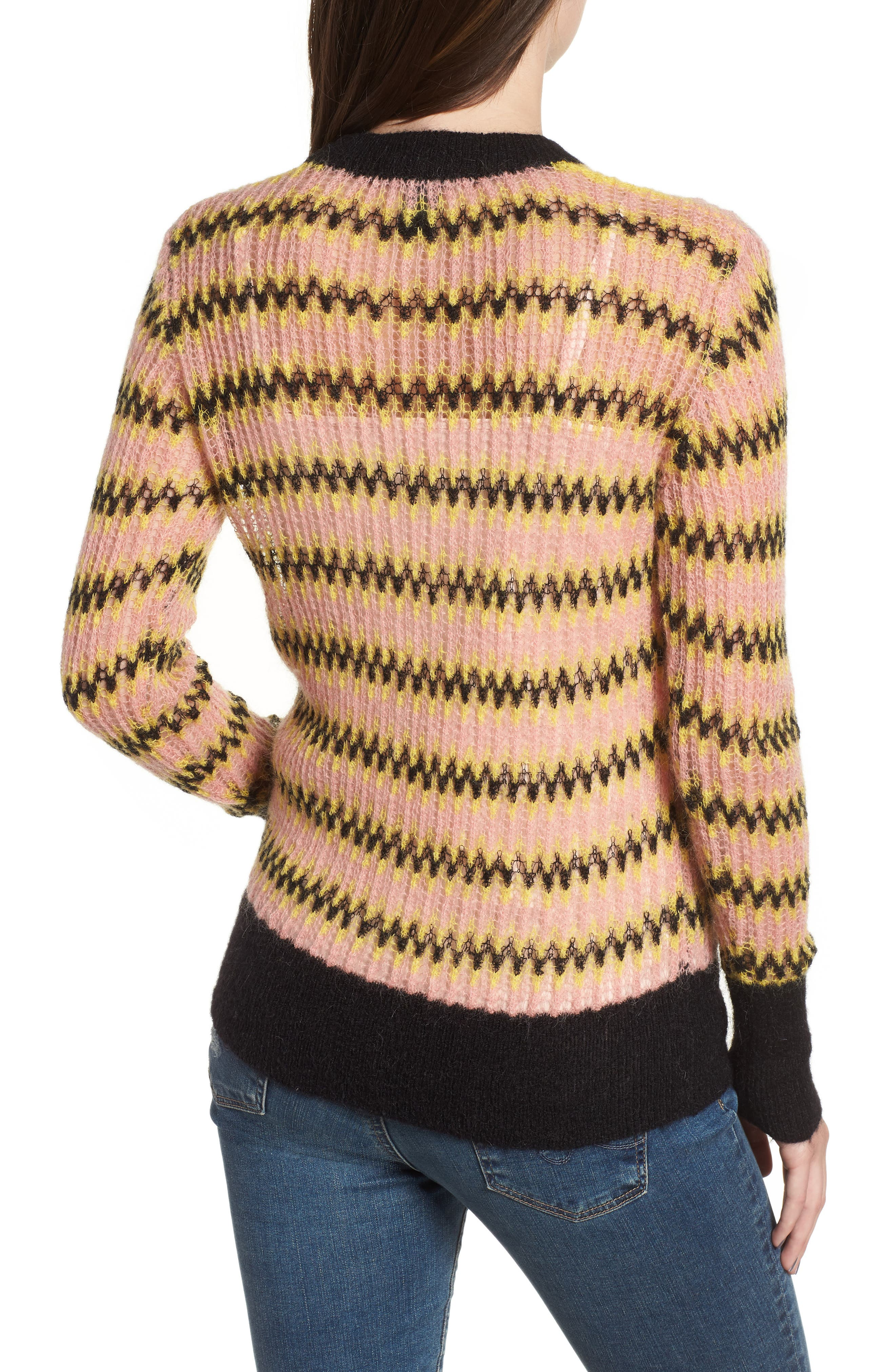 Zig Zag Wool Blend Sweater,                             Alternate thumbnail 2, color,                             MULTI PINK YELLOW ZIGZAG PRINT