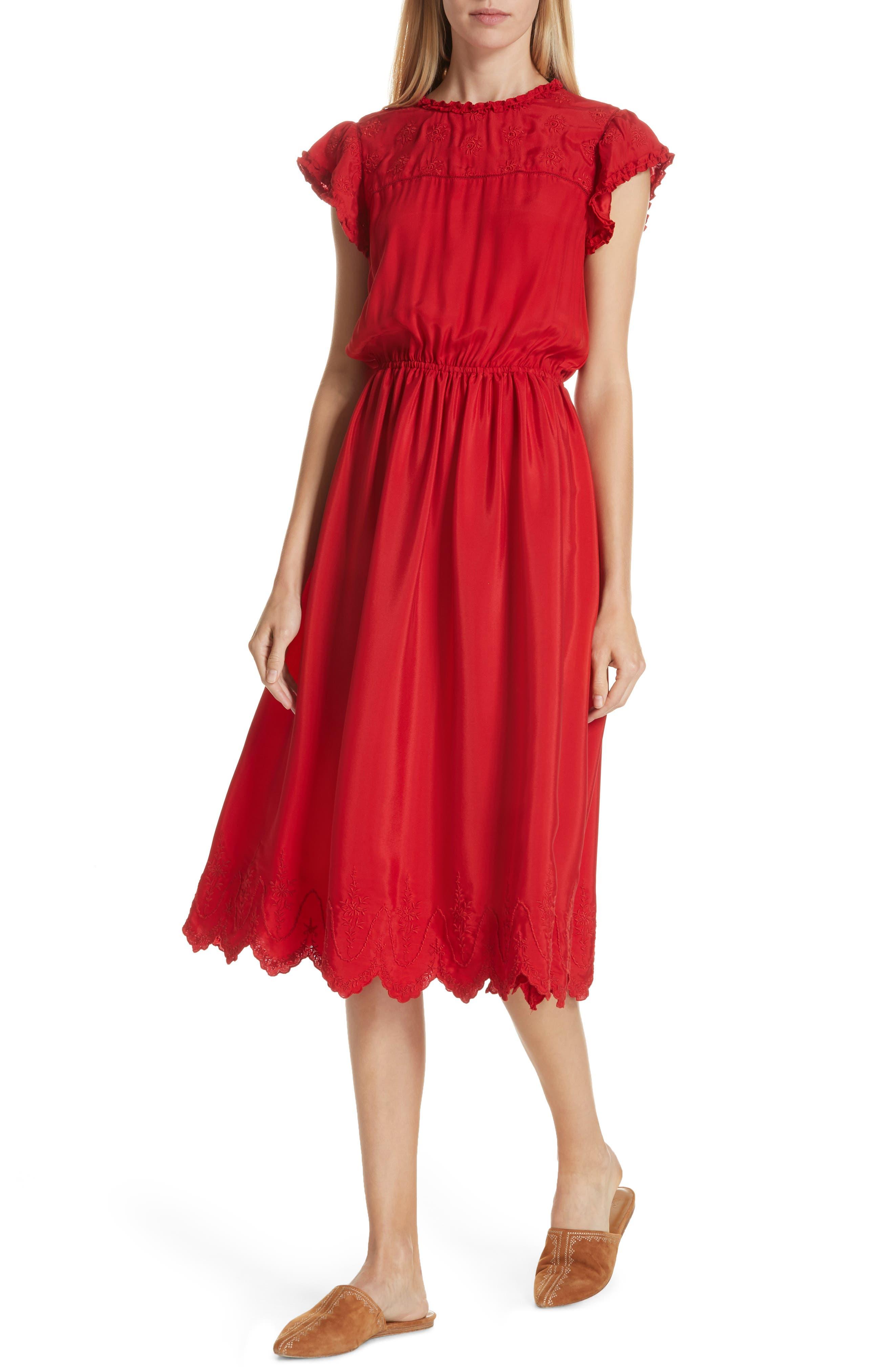 Moonlight Embroidered Silk Dress,                             Alternate thumbnail 4, color,                             VALENTINE