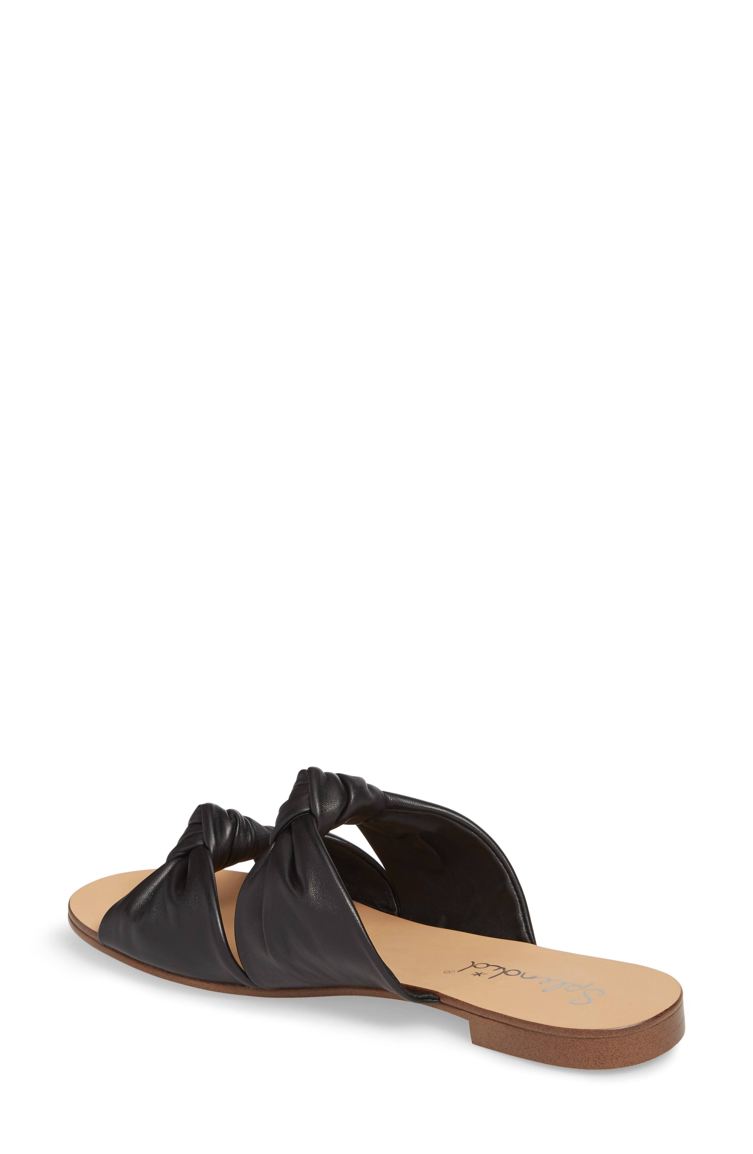 Barton Double Knotted Slide Sandal,                             Alternate thumbnail 2, color,                             BLACK LEATHER