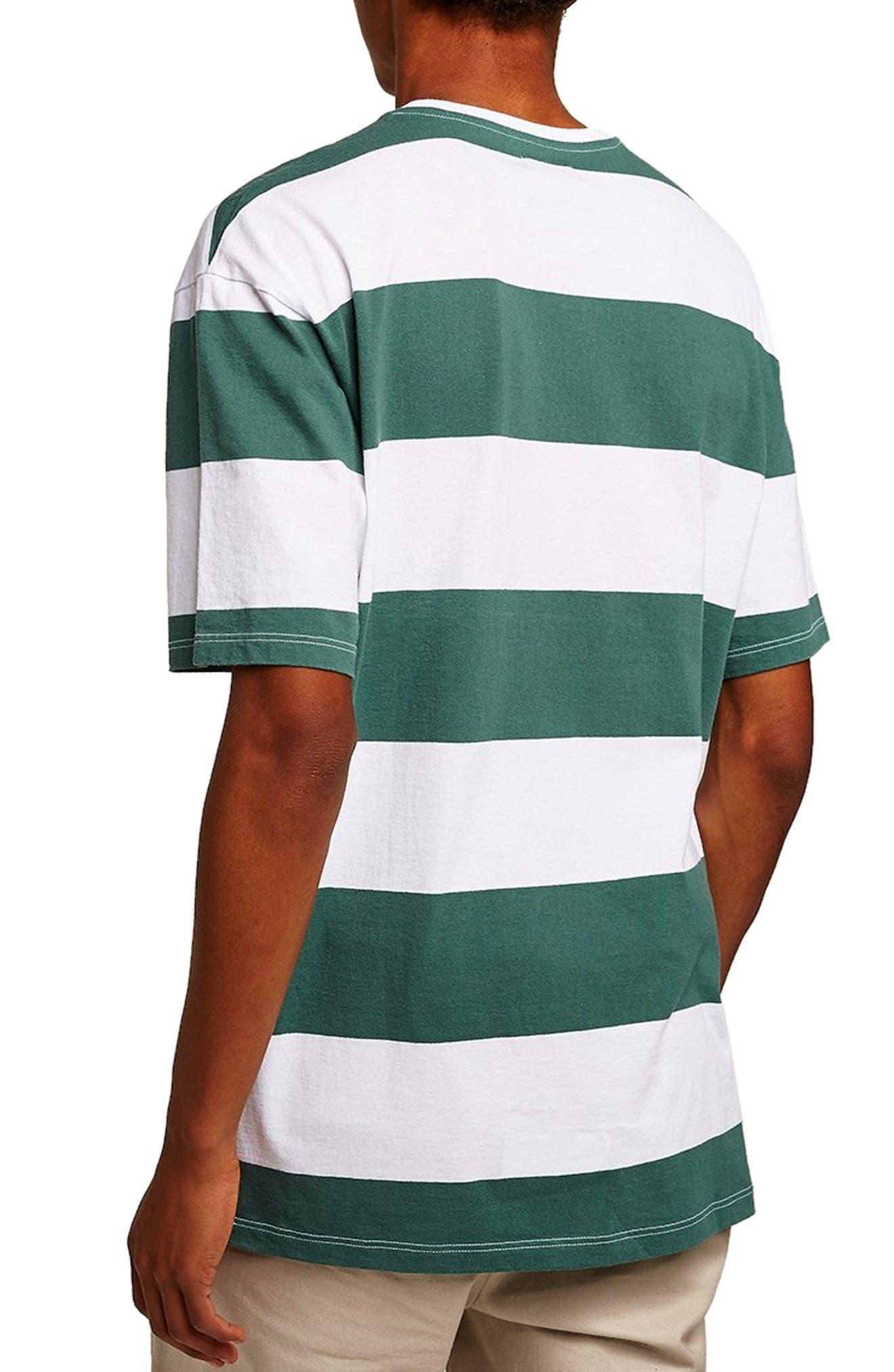 Wide Stripe Classic Fit T-Shirt,                             Alternate thumbnail 2, color,                             GREEN MULTI