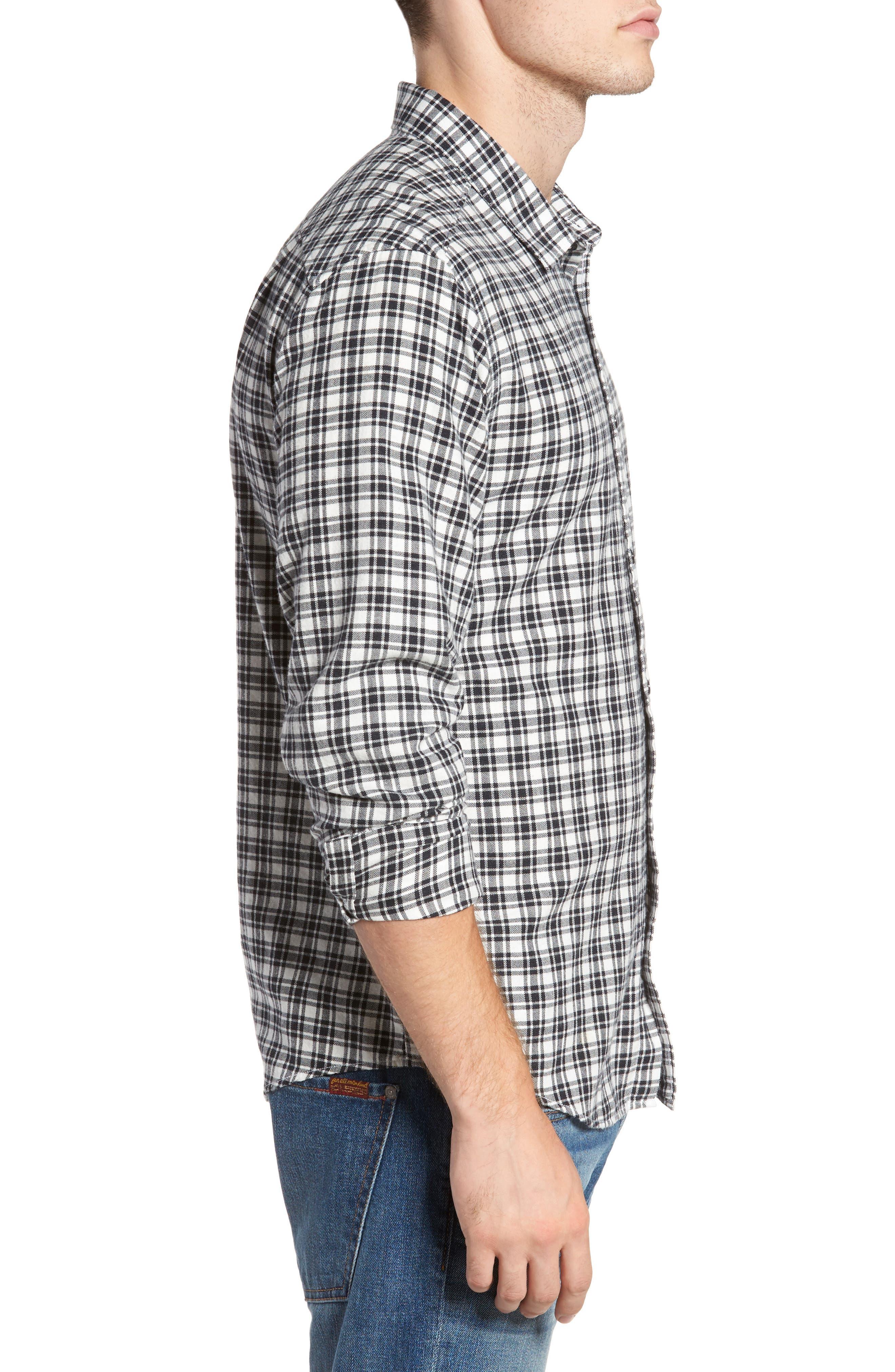 Hayes Plaid Flannel Sport Shirt,                             Alternate thumbnail 3, color,