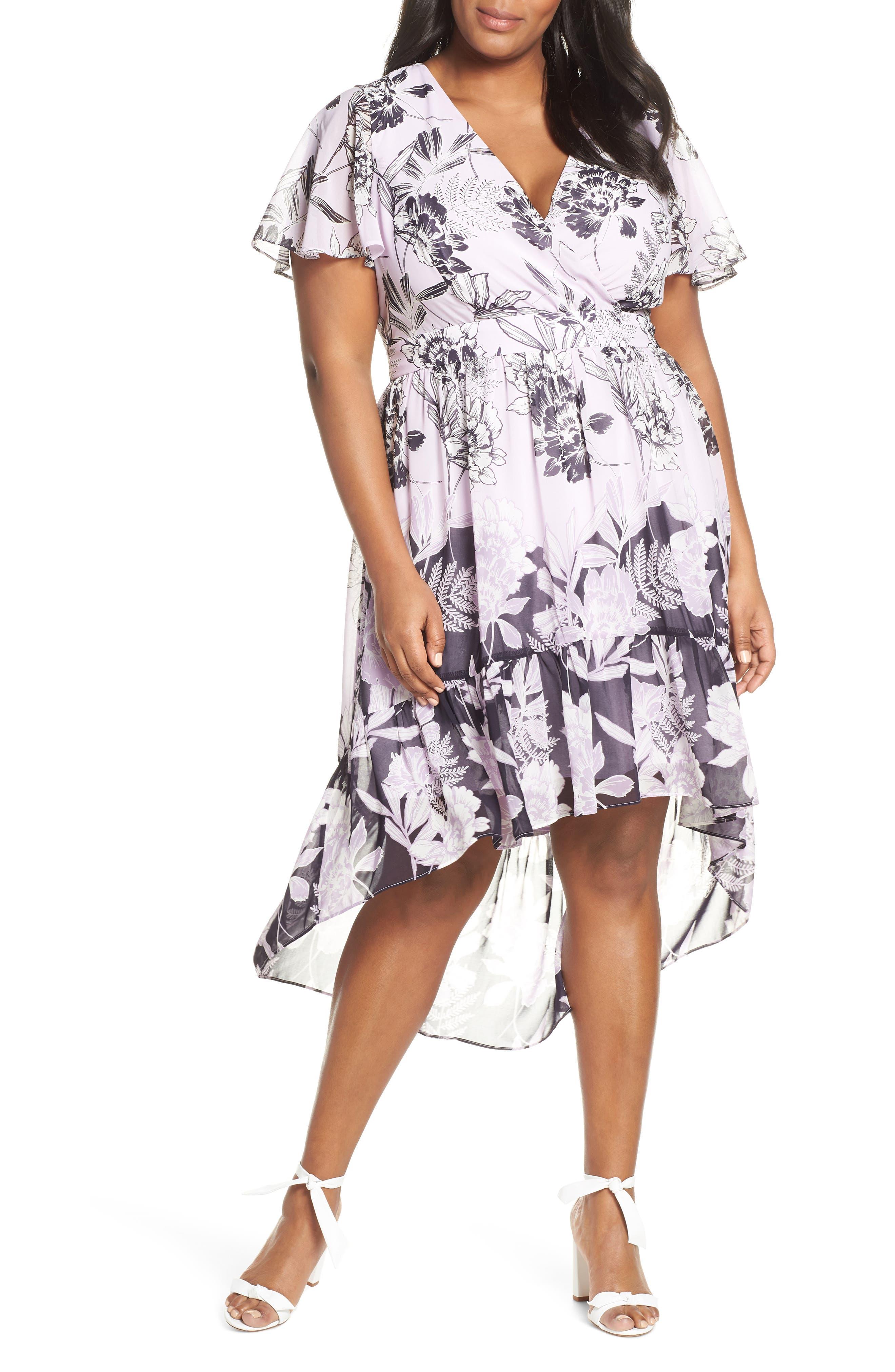 Plus Size Vince Camuto Print Flutter Midi Dress, Purple
