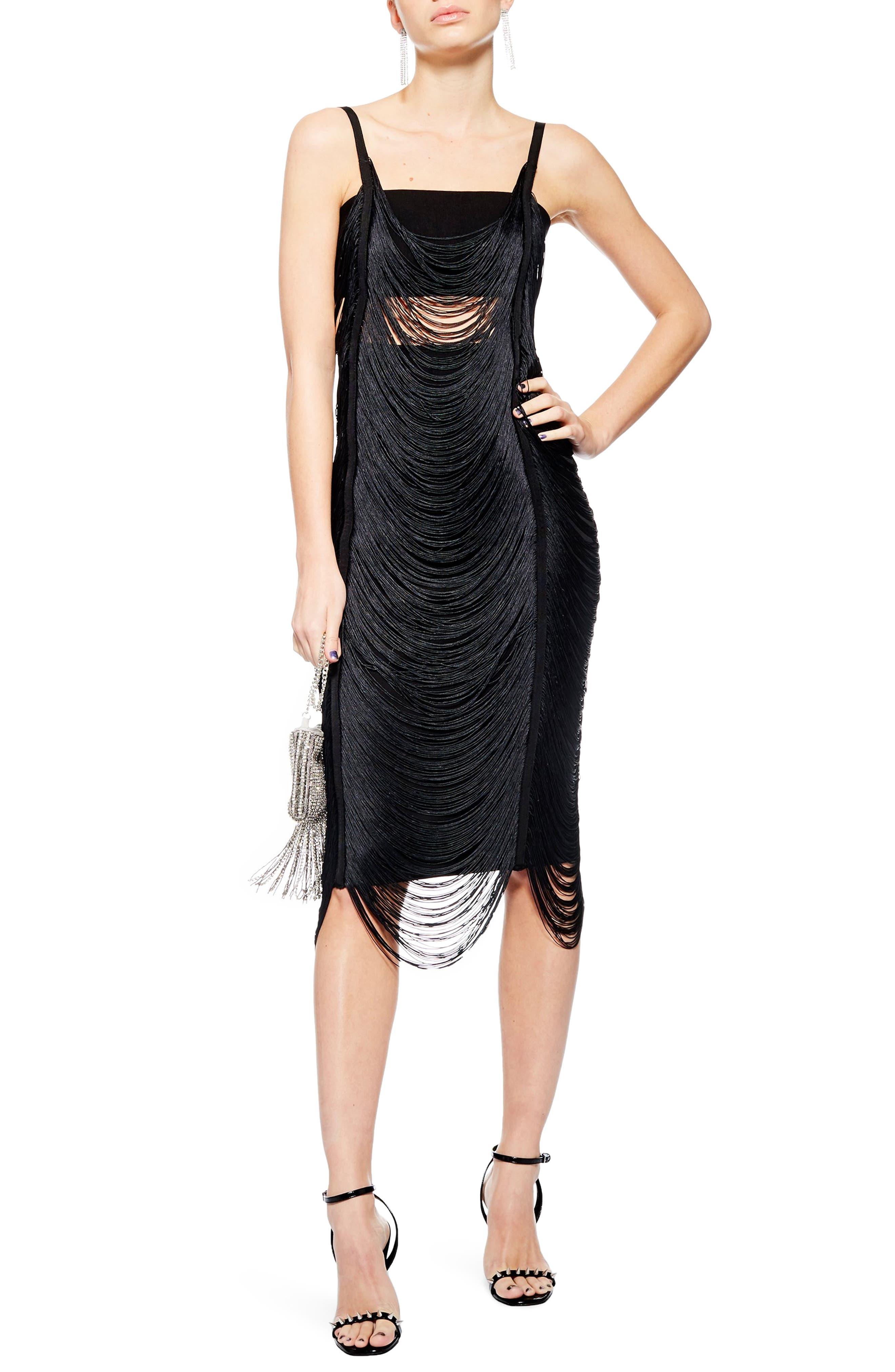 Fringe Body-Con Dress,                             Main thumbnail 1, color,                             BLACK