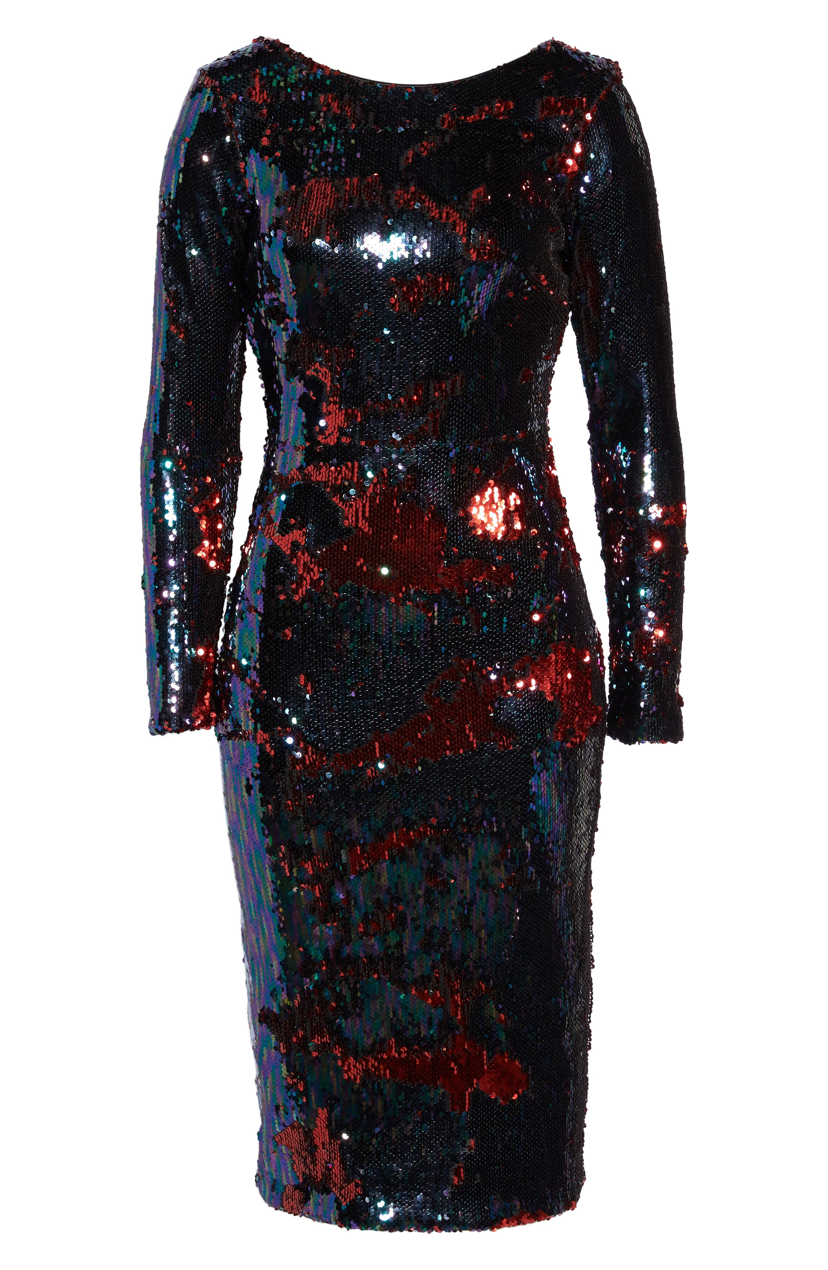 DRESS THE POPULATION,                             Emery Scoop Back Reversible Sequin Body-Con Dress,                             Alternate thumbnail 7, color,                             457