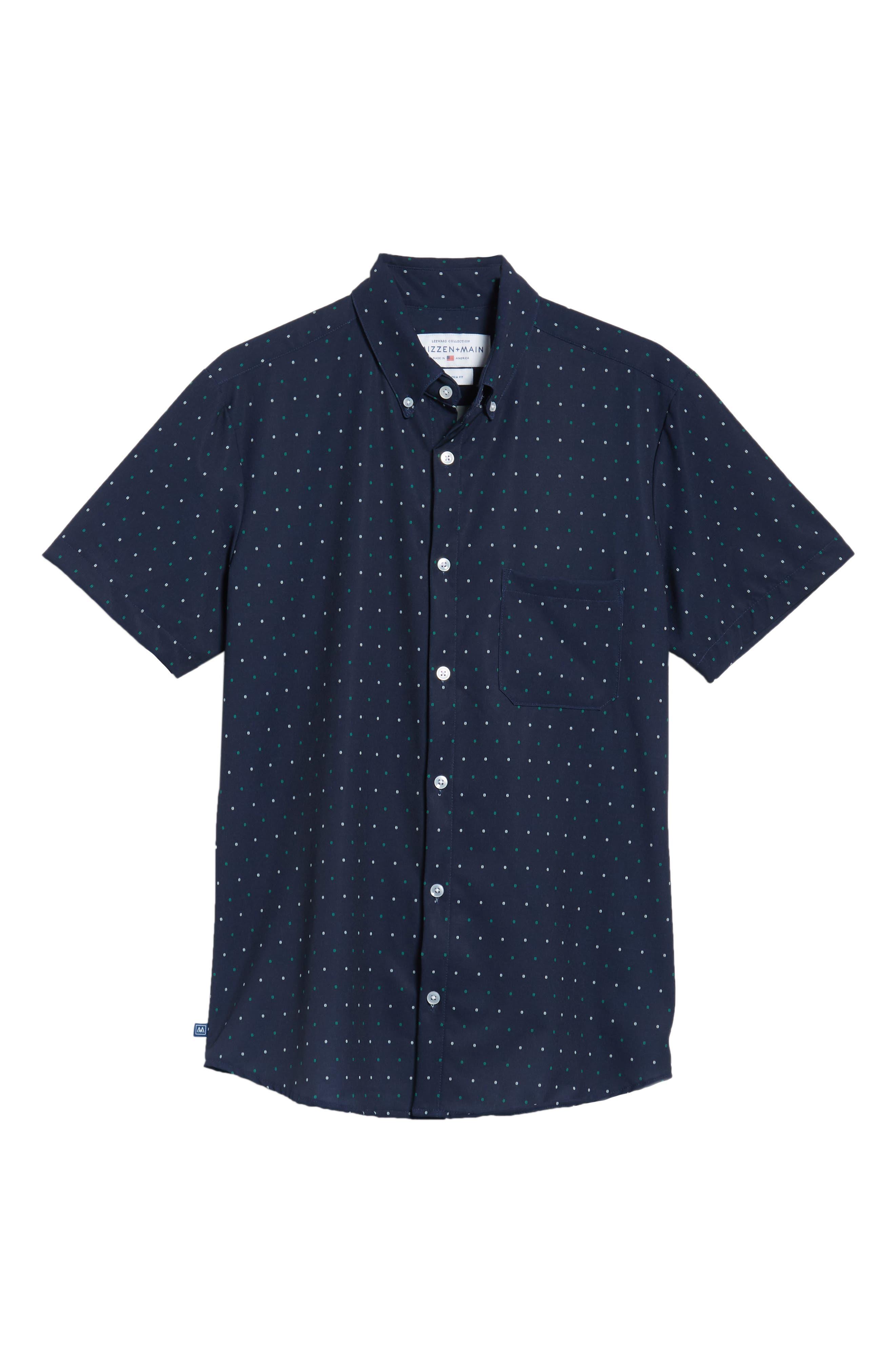 Jameson Regular Fit Dot Performance Sport Shirt,                             Alternate thumbnail 6, color,                             BLUE