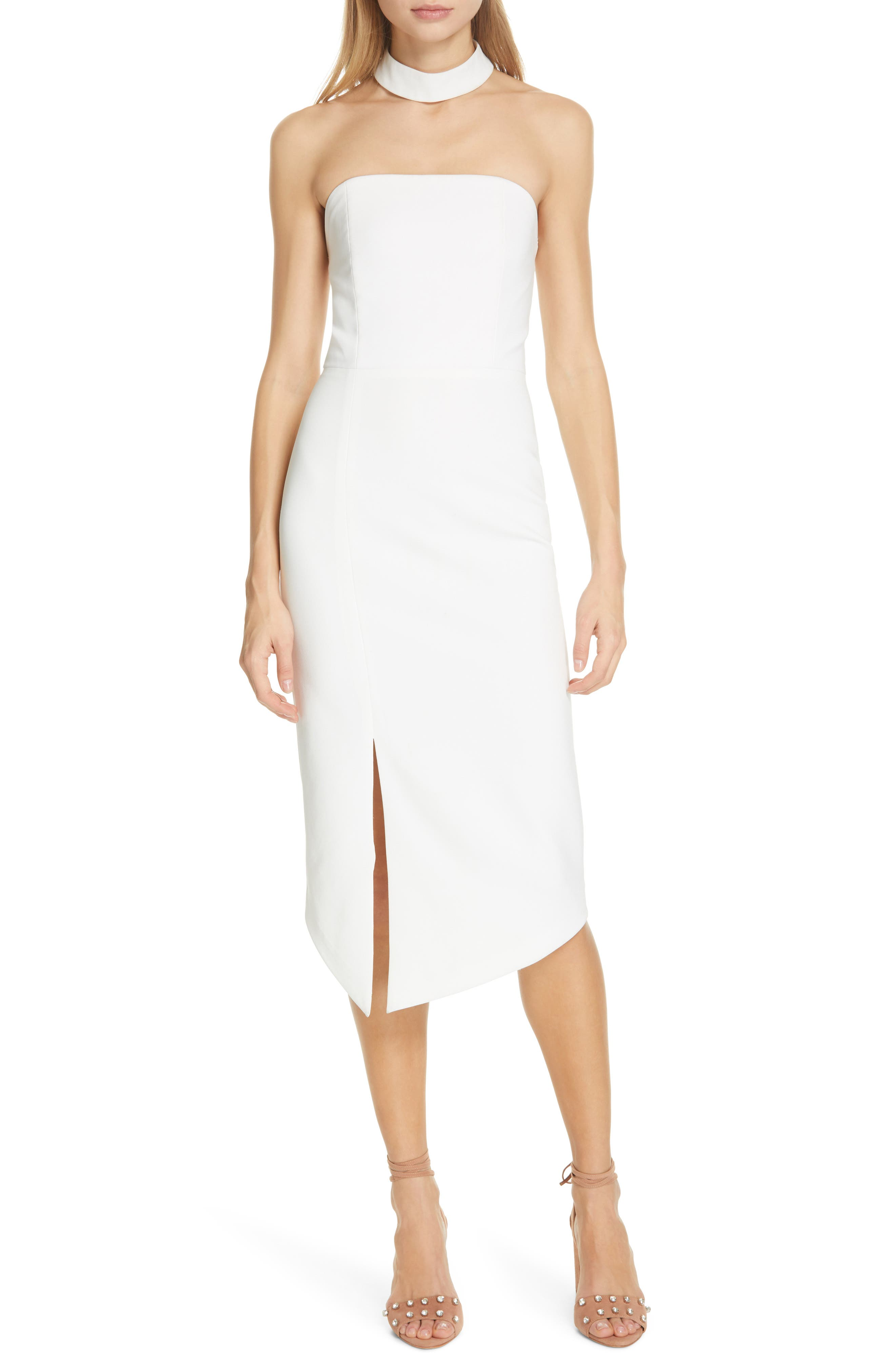 Alice + Olivia Sia Strapless Choker Collar Dress, Ivory