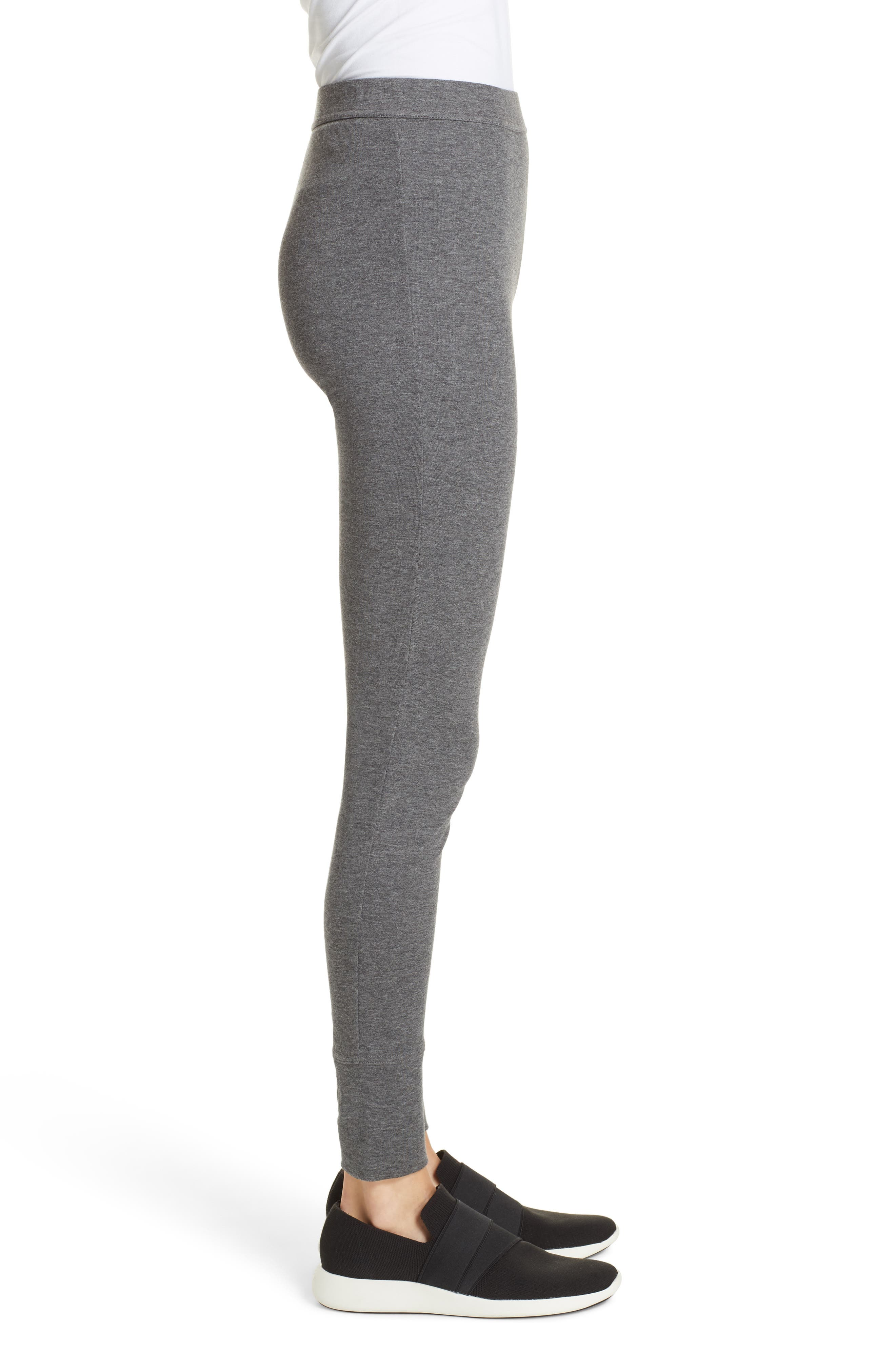 Heathered Cotton Blend Leggings,                             Alternate thumbnail 3, color,                             HEATHER CHARCOAL