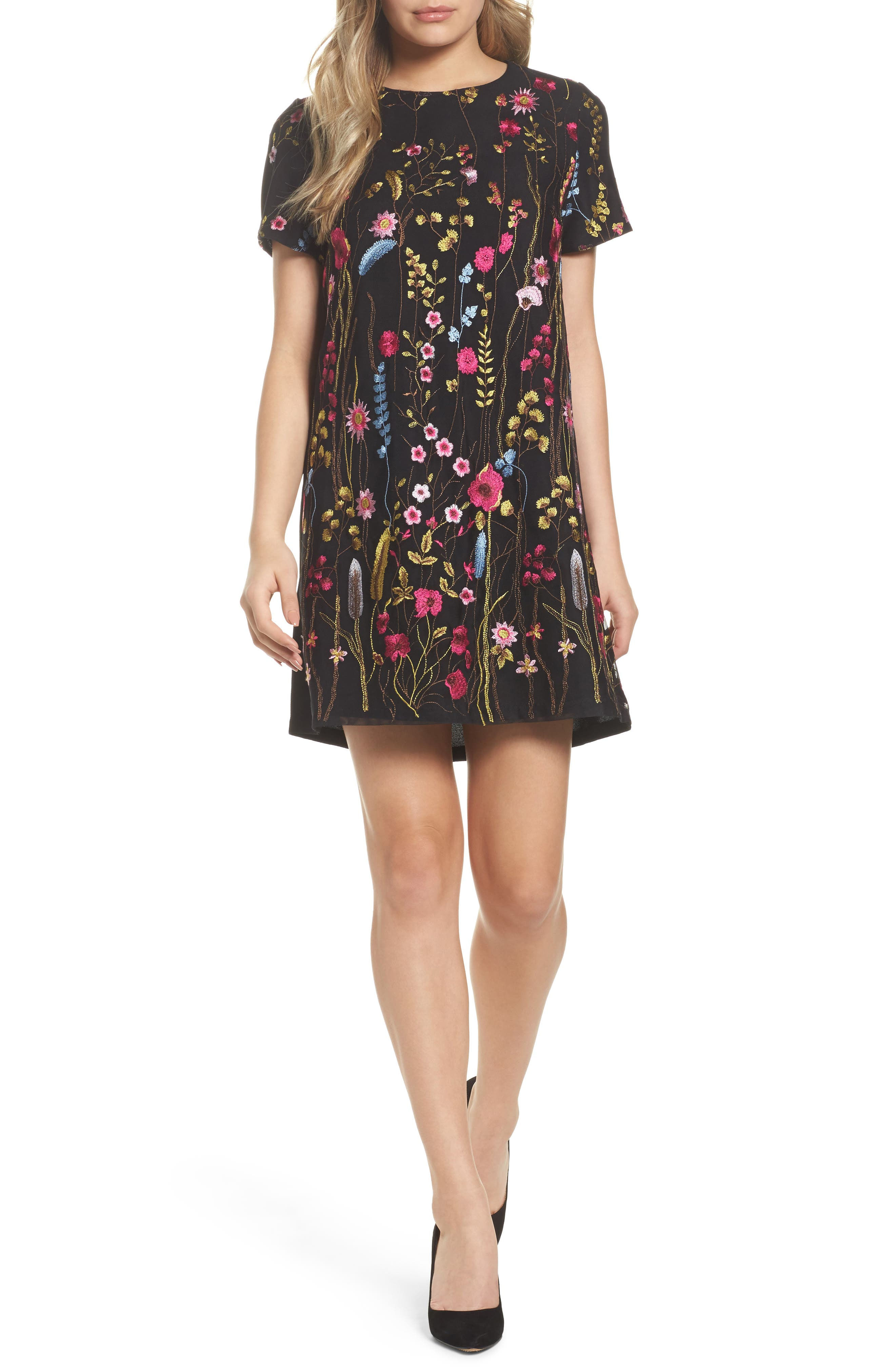 Rose Embroidered Shift Dress,                         Main,                         color, 429