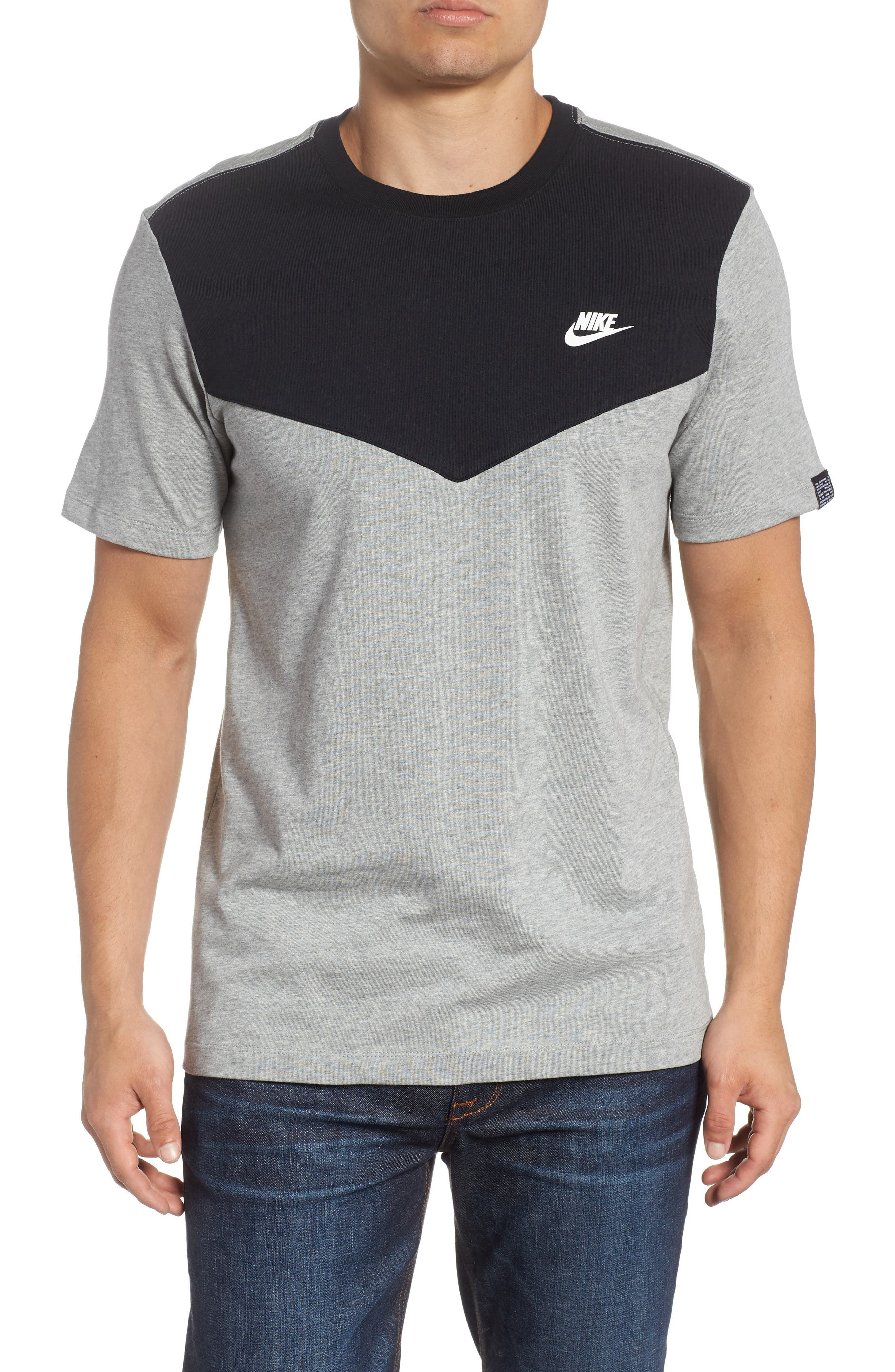 Windrunner Colorblocked T-Shirt,                         Main,                         color, BLACK/ DK GREY HEATHER/ WHITE