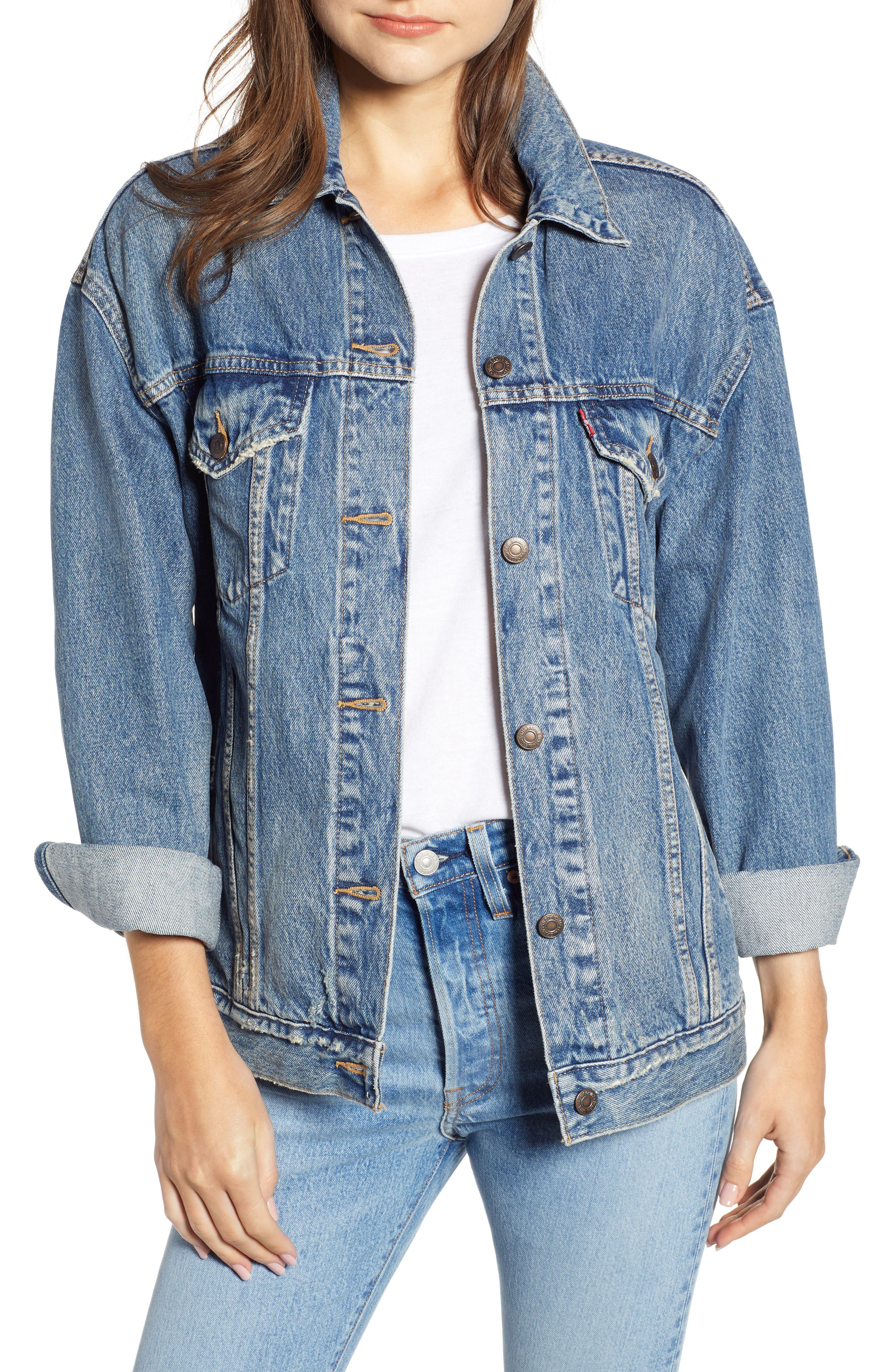 Baggy Trucker Denim Jacket,                             Main thumbnail 1, color,                             BUST A MOVE