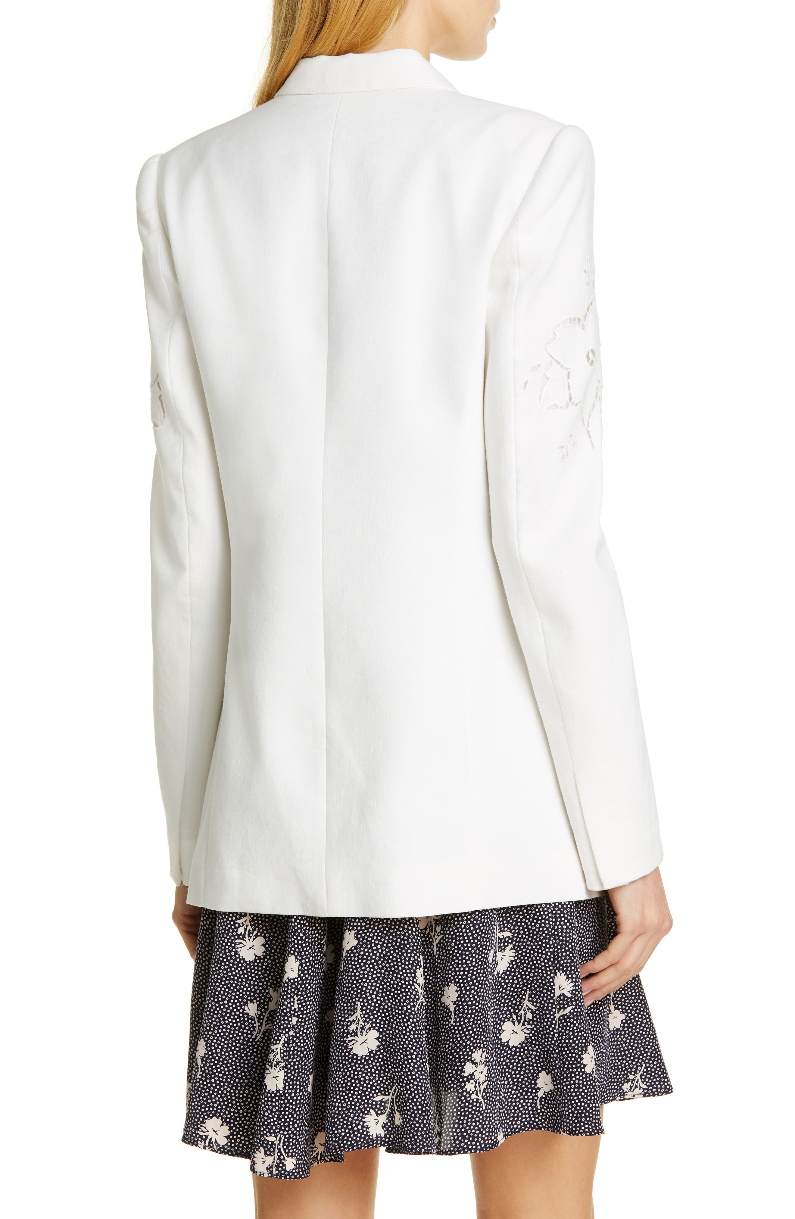 TAILORED BY REBECCA TAYLOR,                             Eyelet Embroidery Linen Blend Blazer,                             Alternate thumbnail 2, color,                             SNOW