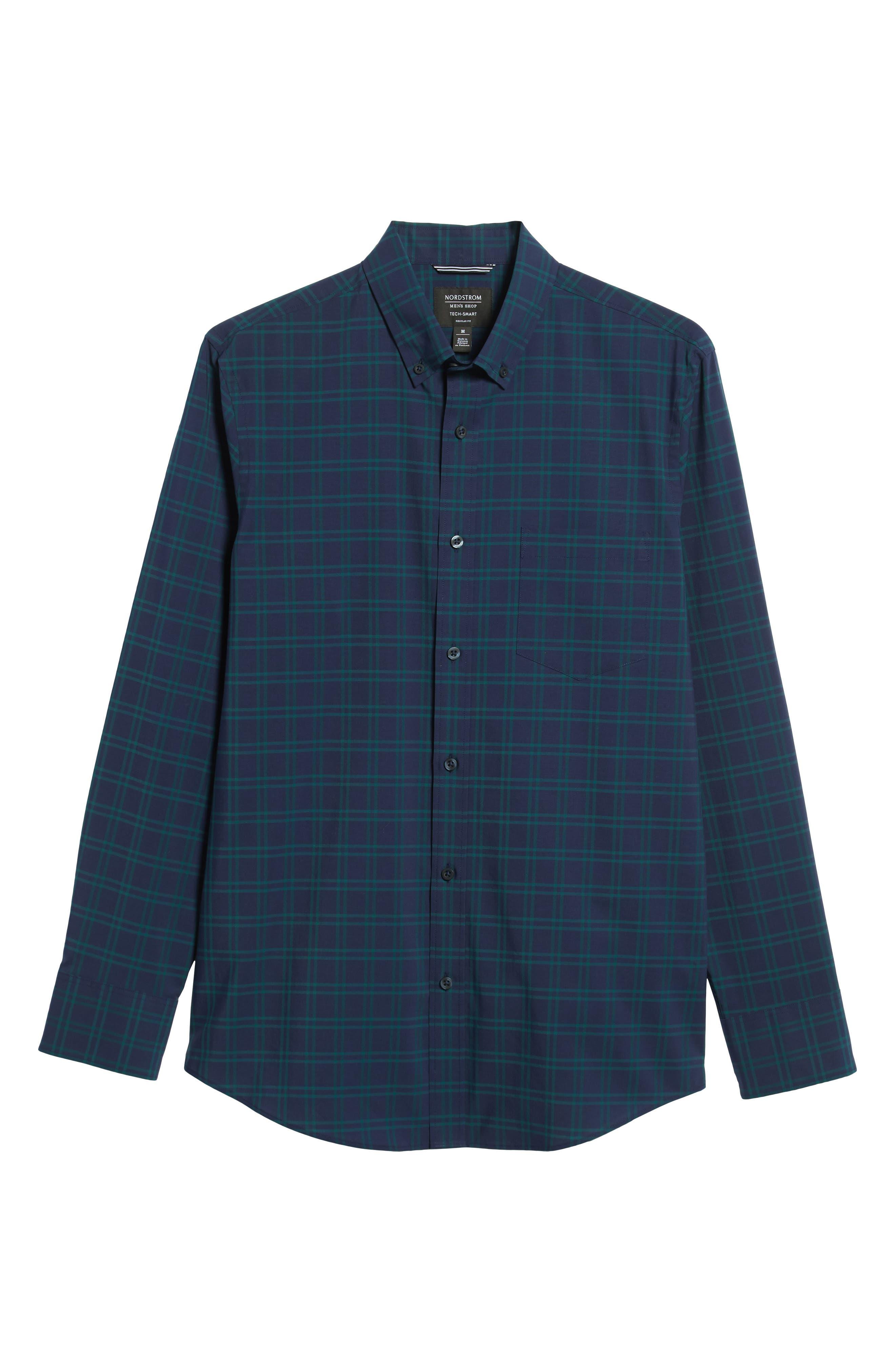 NORDSTROM MEN'S SHOP,                             Tech-Smart Slim Fit Check Sport Shirt,                             Alternate thumbnail 5, color,                             NAVY IRIS TEAL WINDOWPANE