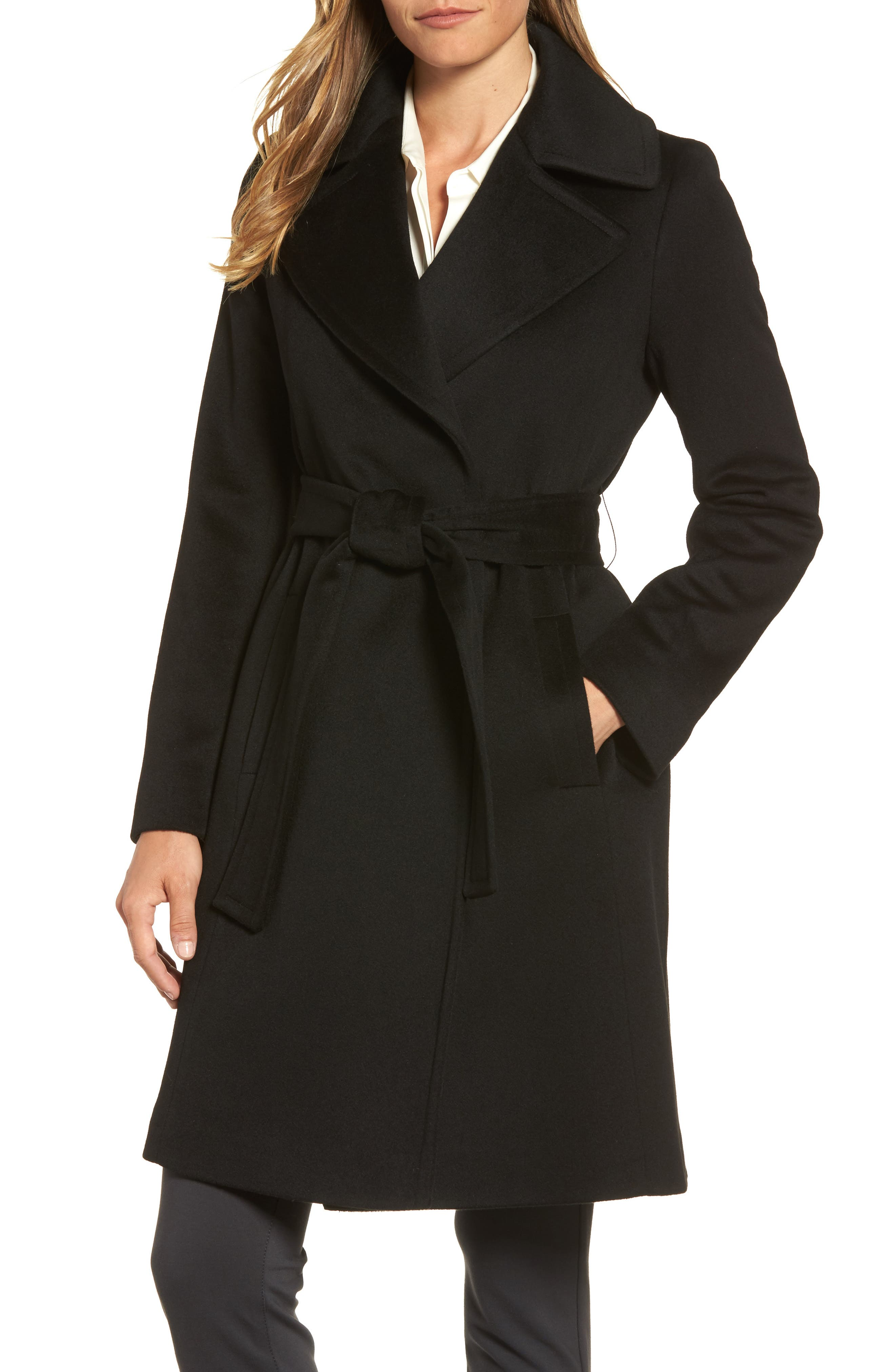 Wool Wrap Coat,                         Main,                         color, 001