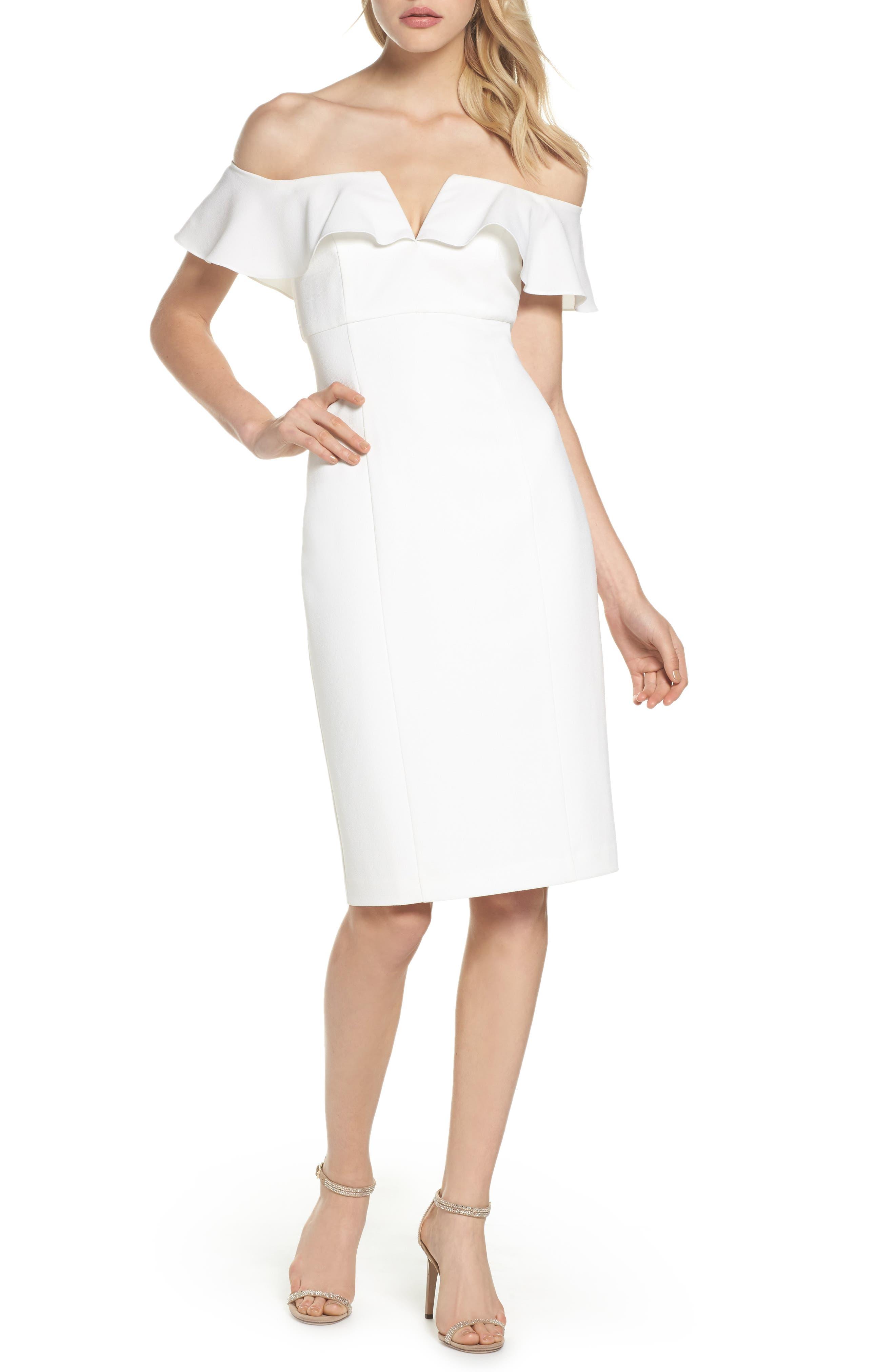 VINCE CAMUTO Off the Shoulder Midi Dress, Main, color, 900