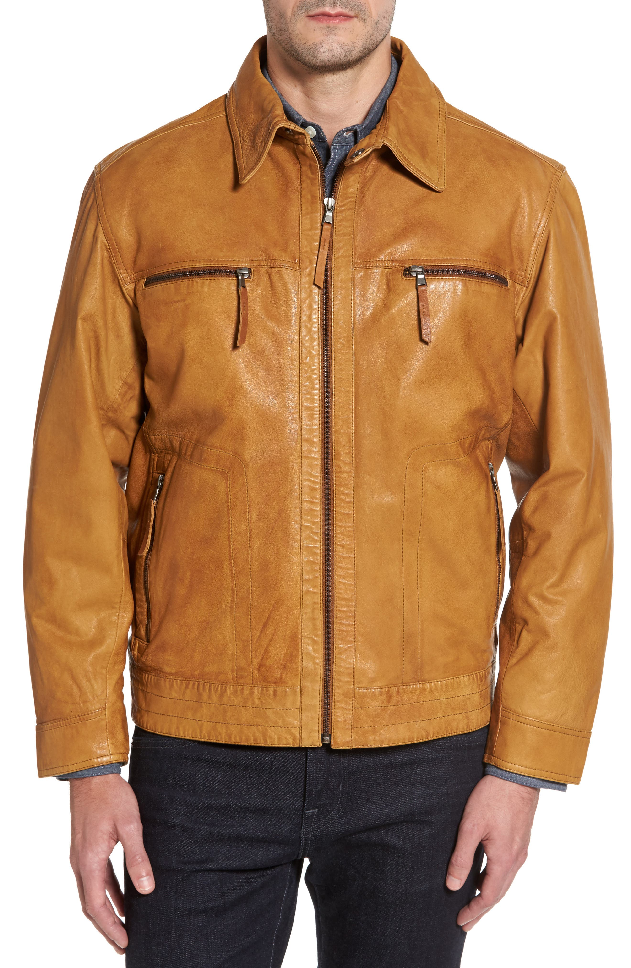 Leather Jacket with Detachable Genuine Shearling Collar,                             Alternate thumbnail 4, color,                             210