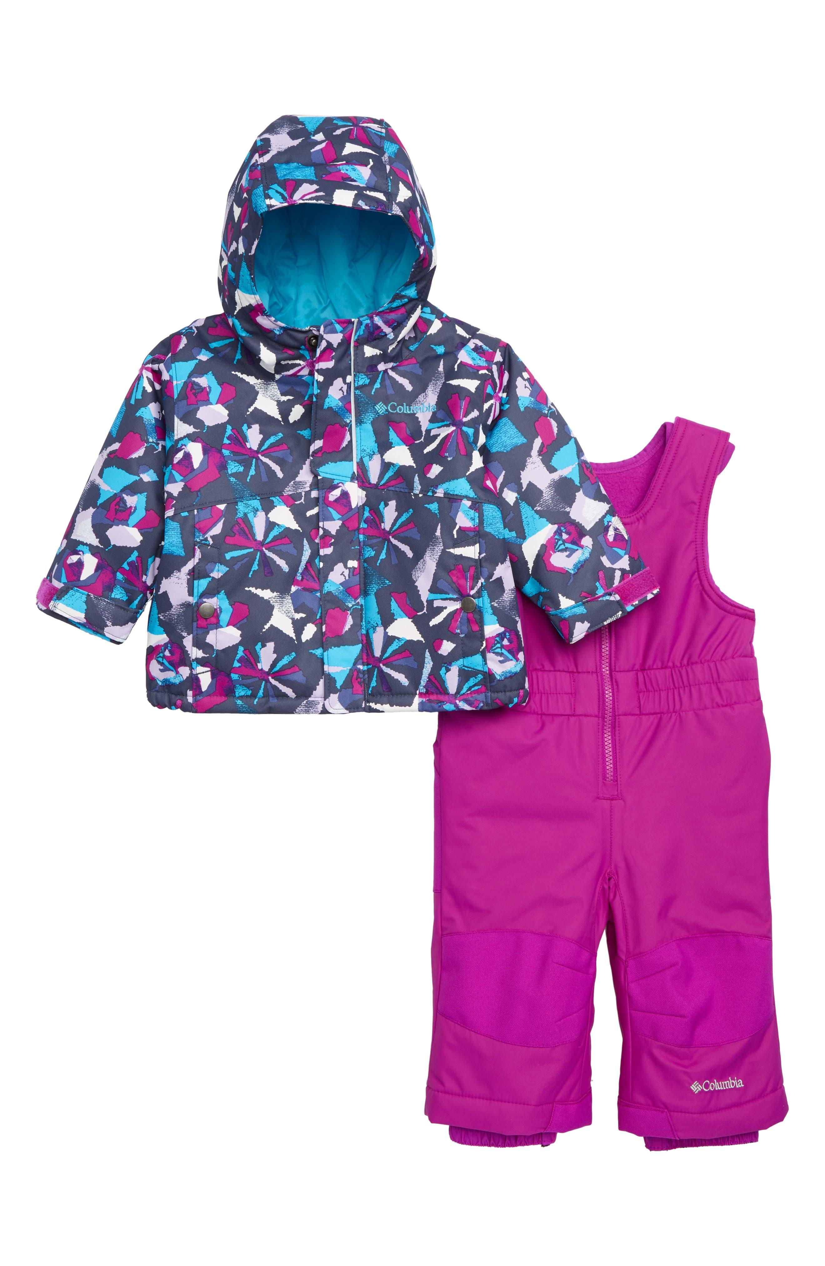Buga Waterproof Insulated Jacket & Snow Bib, Main, color, BRIGHT PLUM PINWHEEL