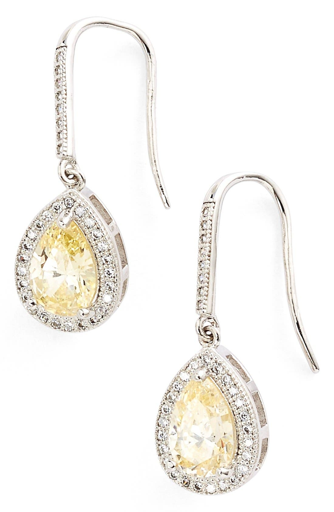 'Lassaire' Canary Drop Earrings,                             Main thumbnail 1, color,                             SILVER/ CANARY YELLOW
