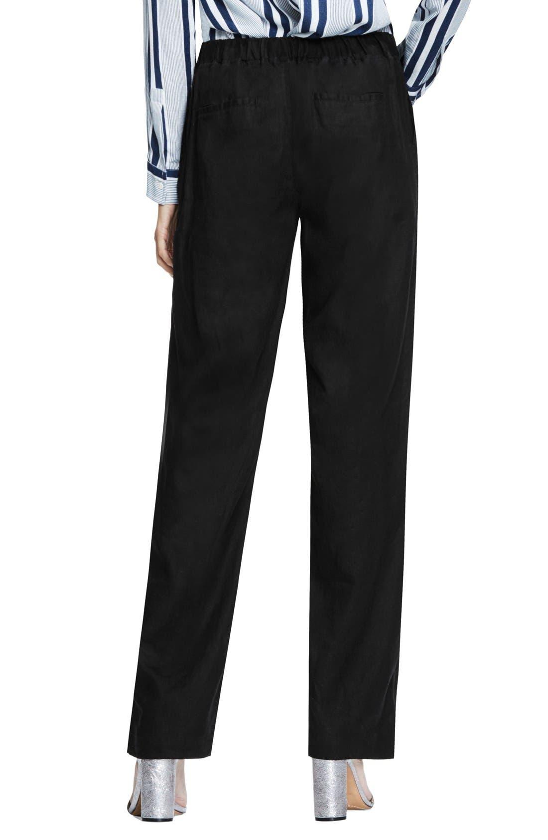 Wide Leg Linen Pants,                             Alternate thumbnail 4, color,                             RICH BLACK