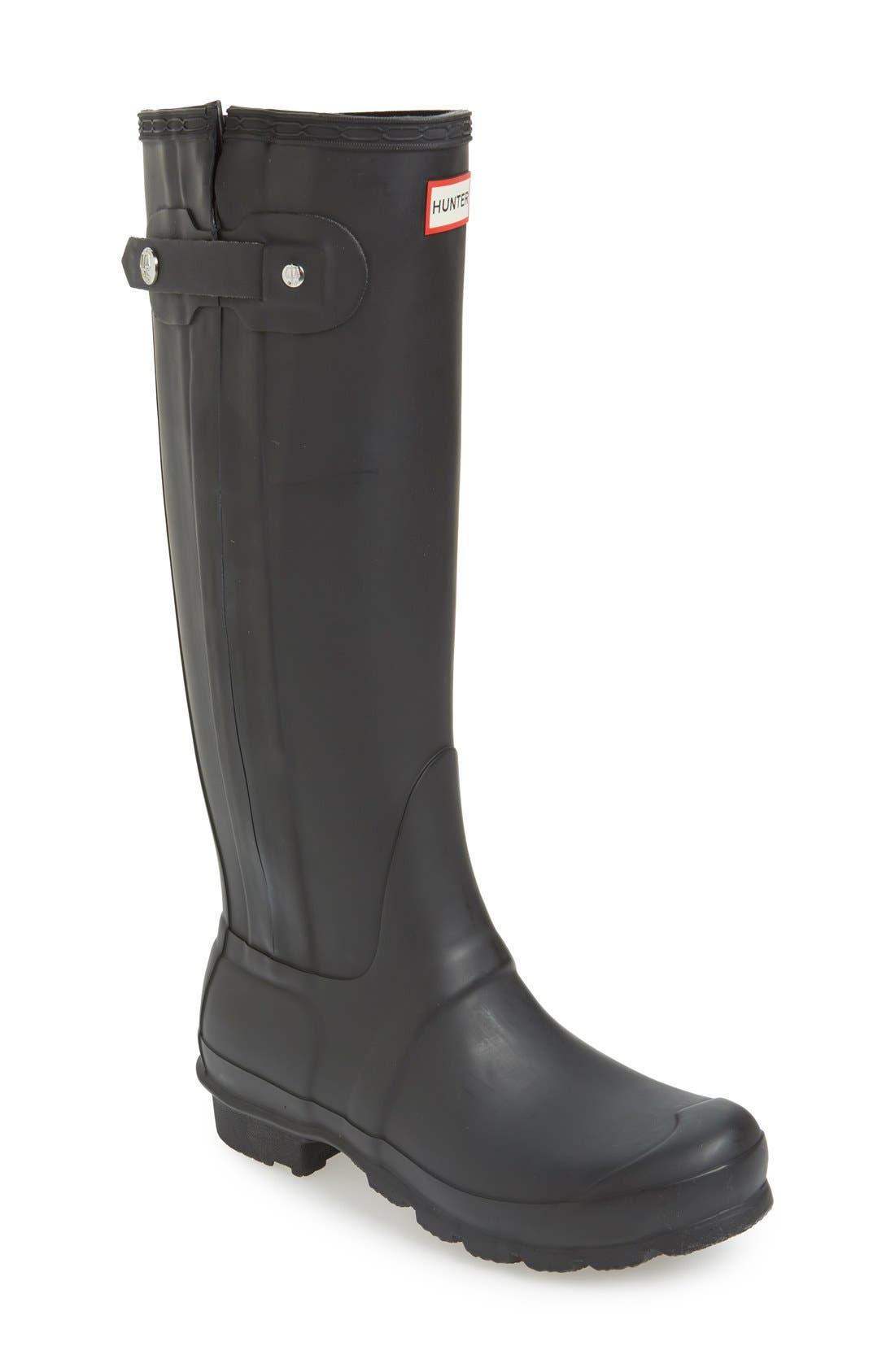 HUNTER 'Original Slim' Zip Rubber Rain Boot, Main, color, 001