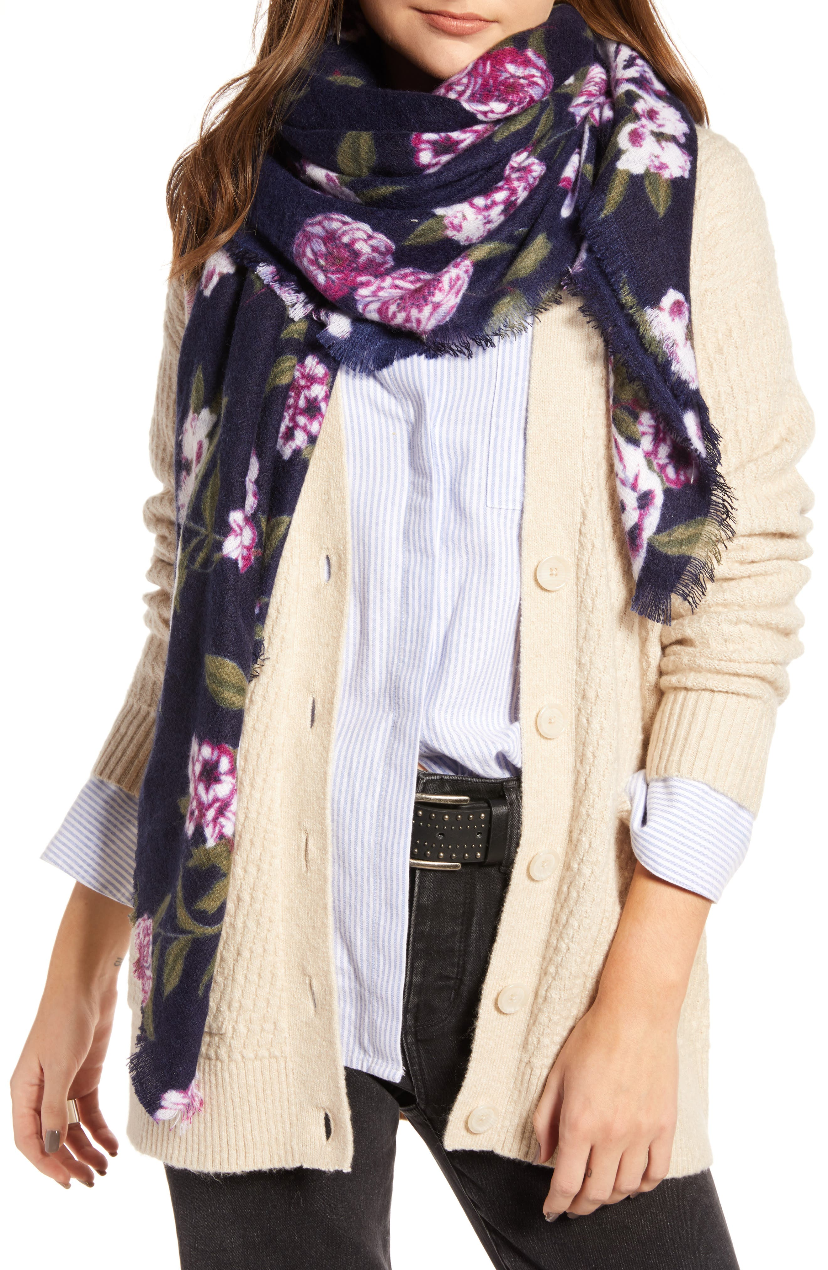 Floral Scarf,                         Main,                         color, NAVY FOLK FLORAL