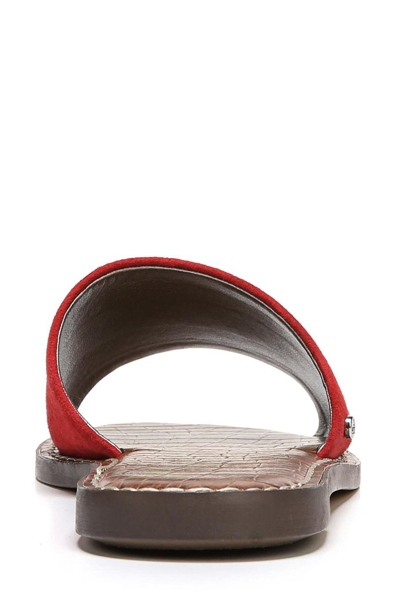 Gio Slide Sandal,                             Alternate thumbnail 7, color,                             RED SUEDE