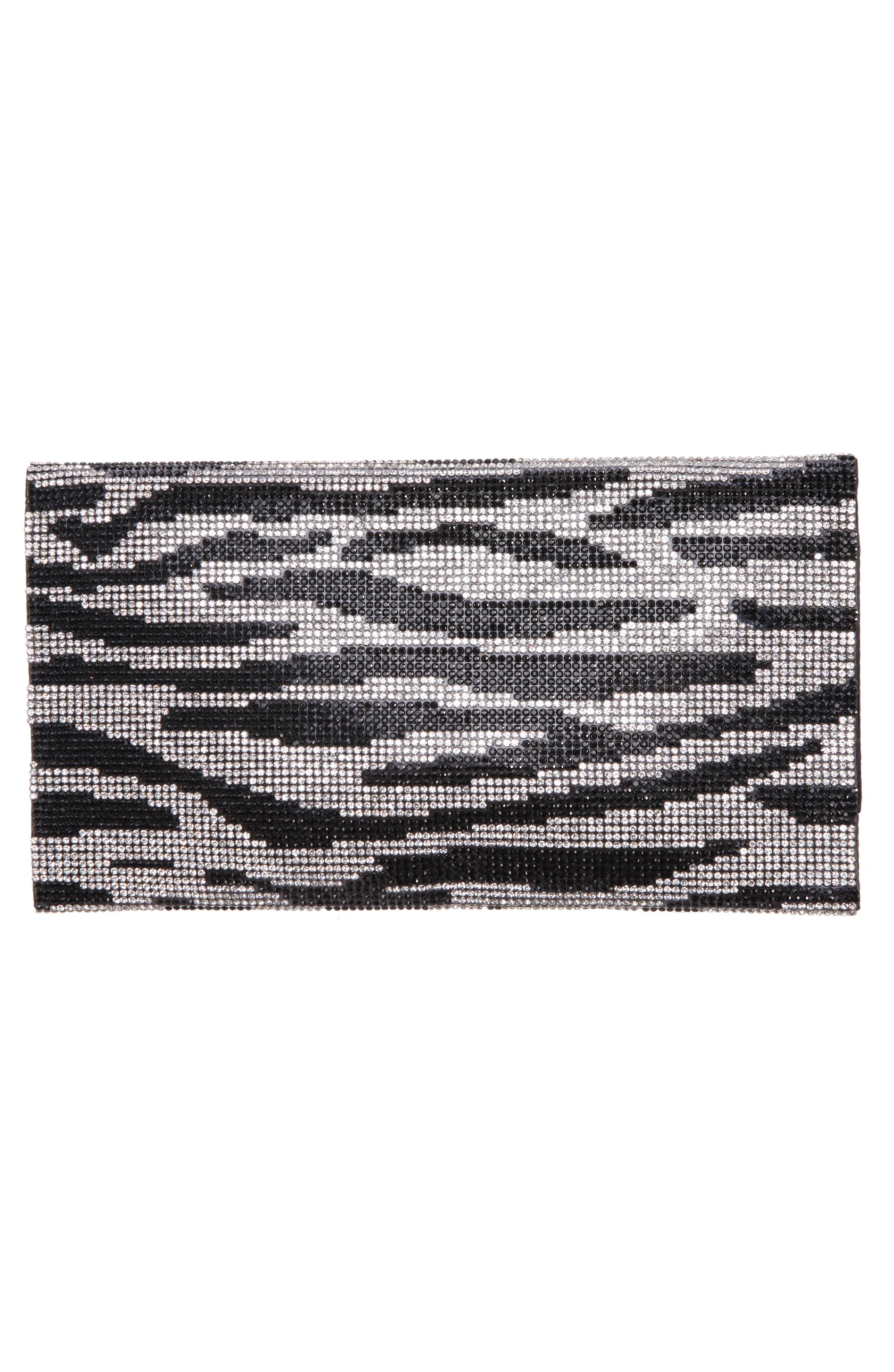 Crystal Zebra Clutch,                             Alternate thumbnail 2, color,                             BLACK/ SILVER
