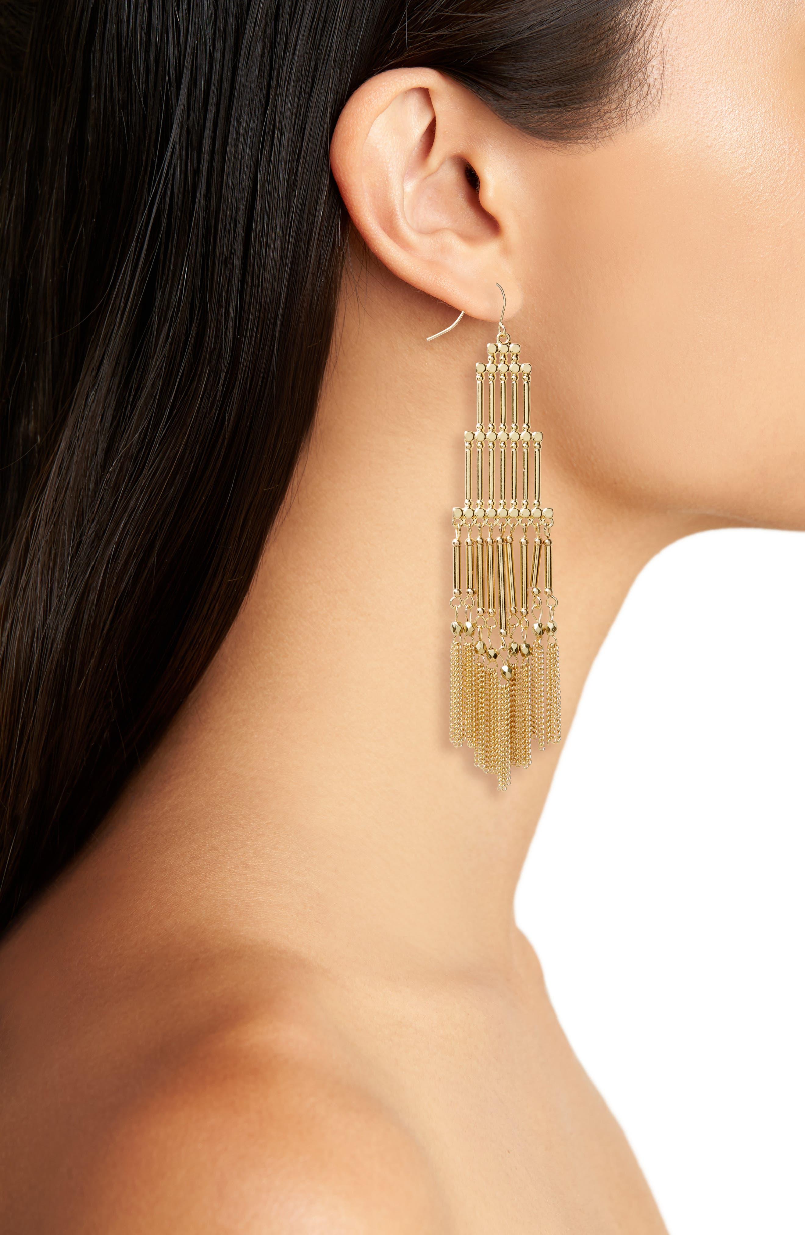 Boho Beaded Fringe Earrings,                             Alternate thumbnail 2, color,                             710