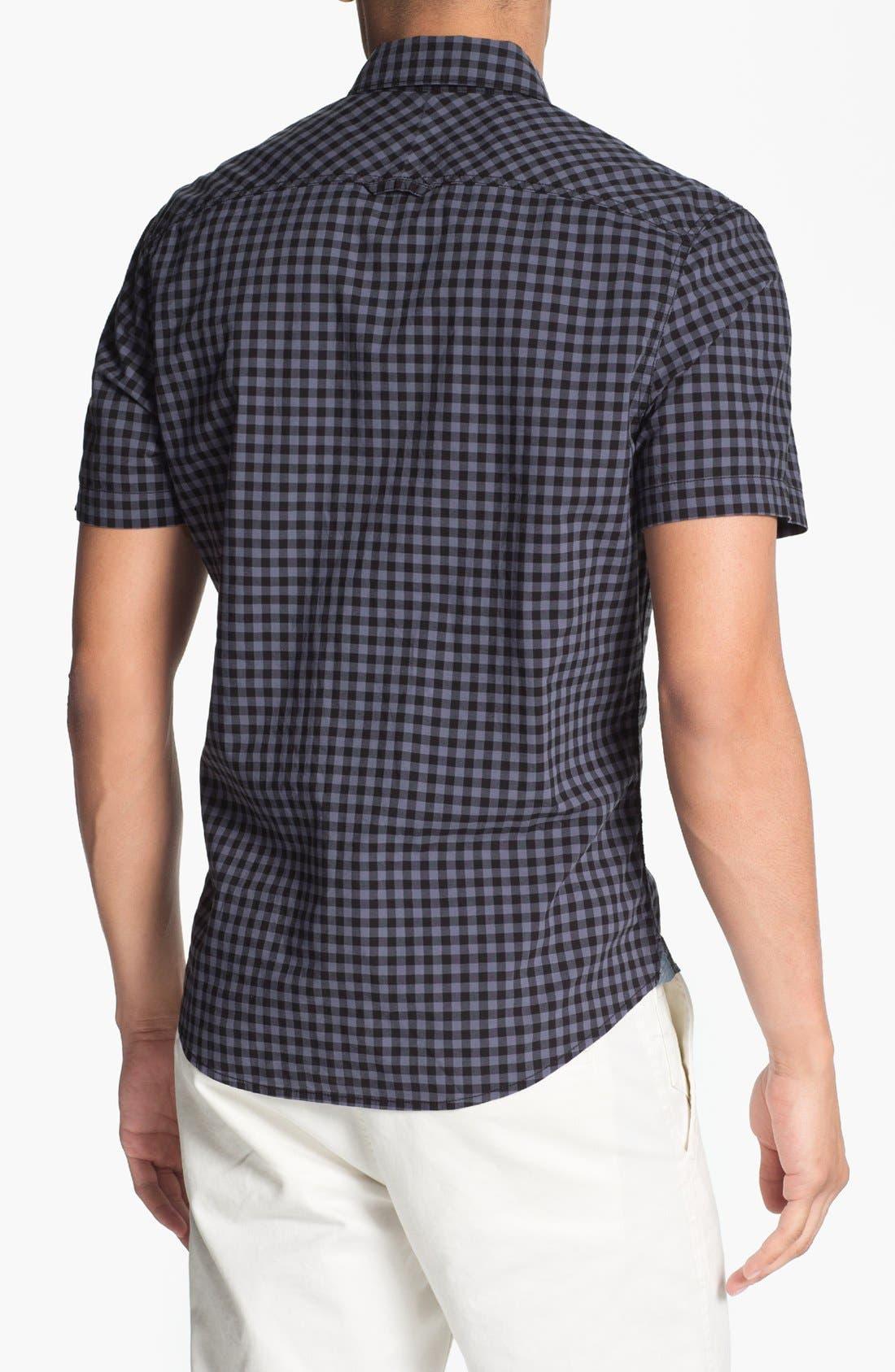 Plaid Short Sleeve Woven Shirt,                             Alternate thumbnail 2, color,                             001