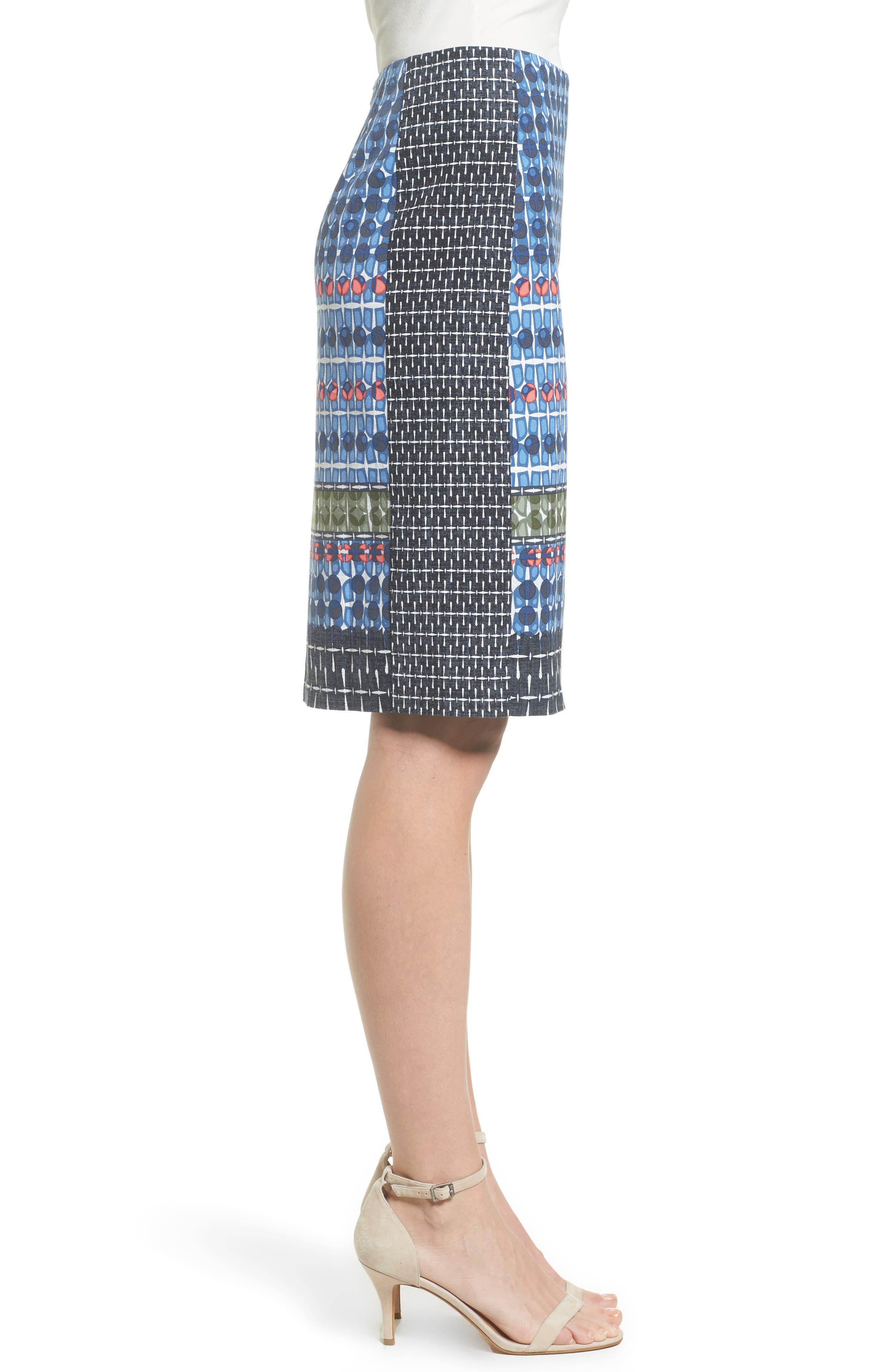 NIC + ZOE Tile Pencil Skirt,                             Alternate thumbnail 3, color,                             490