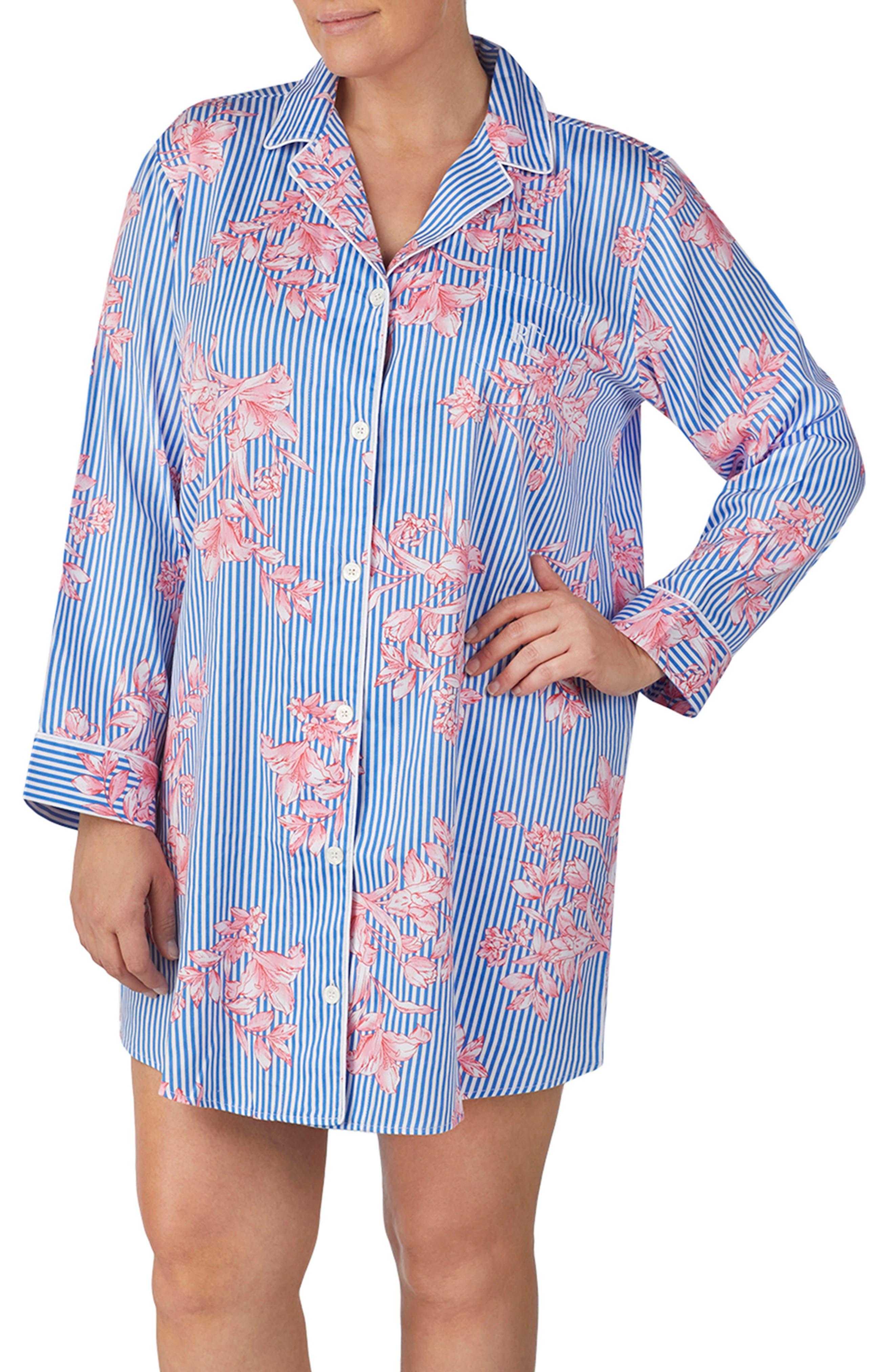 Plus Size Lauren Ralph Lauren His Sleep Shirt, Blue