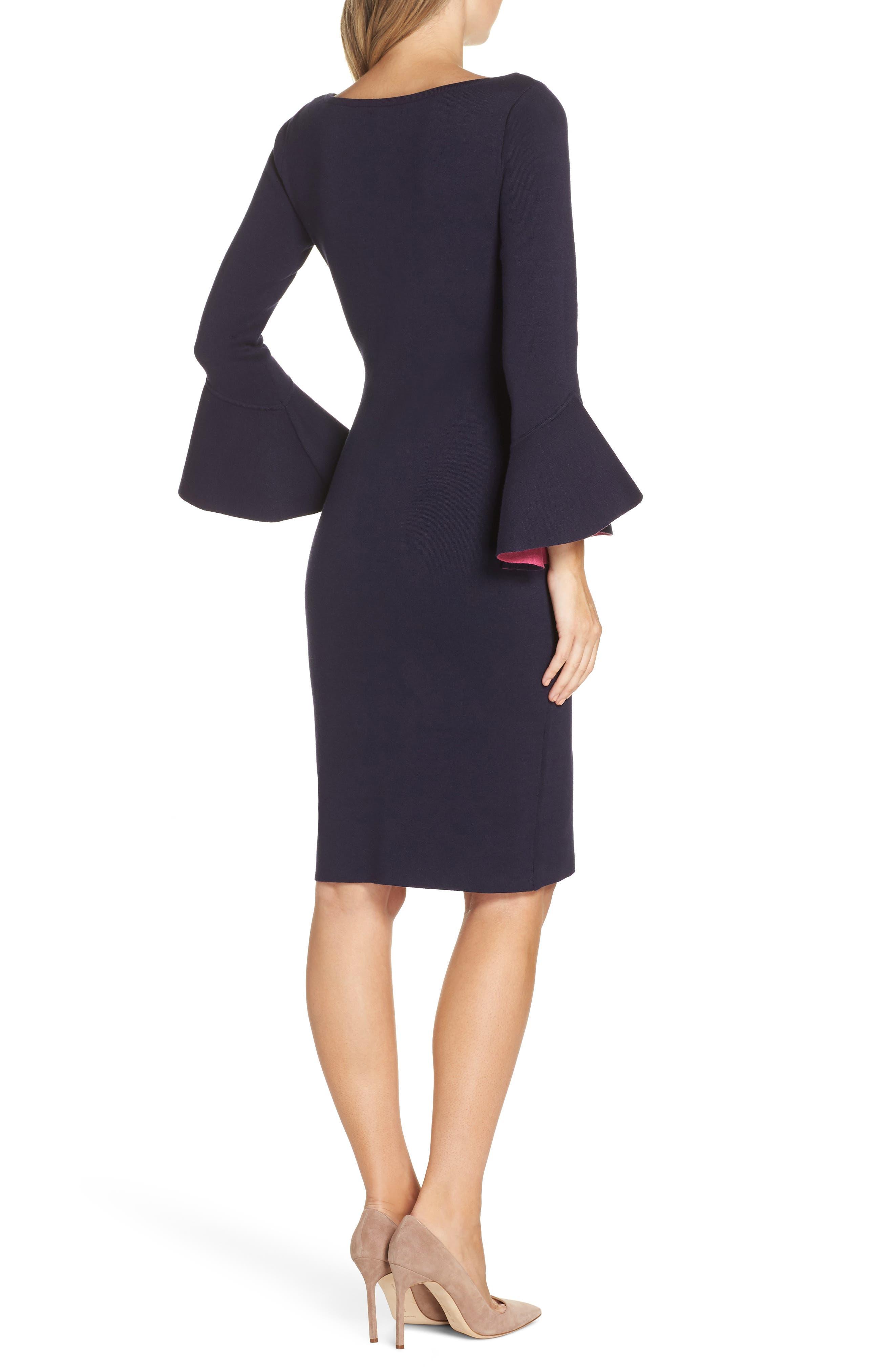 Bell Sleeve Midi Sweater Dress,                             Alternate thumbnail 2, color,                             NAVY