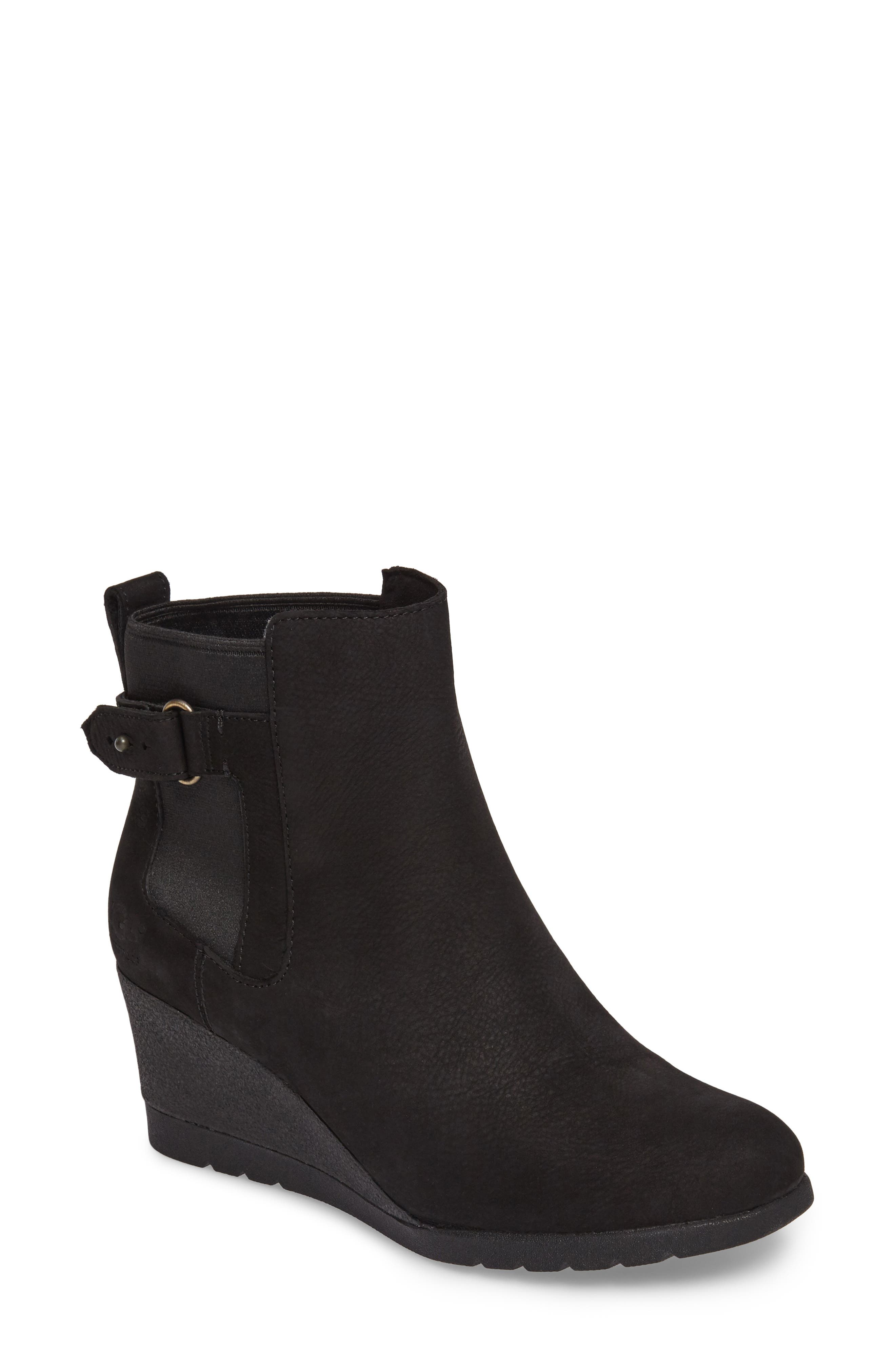 Waterproof Insulated Wedge Boot,                         Main,                         color, BLACK LEATHER