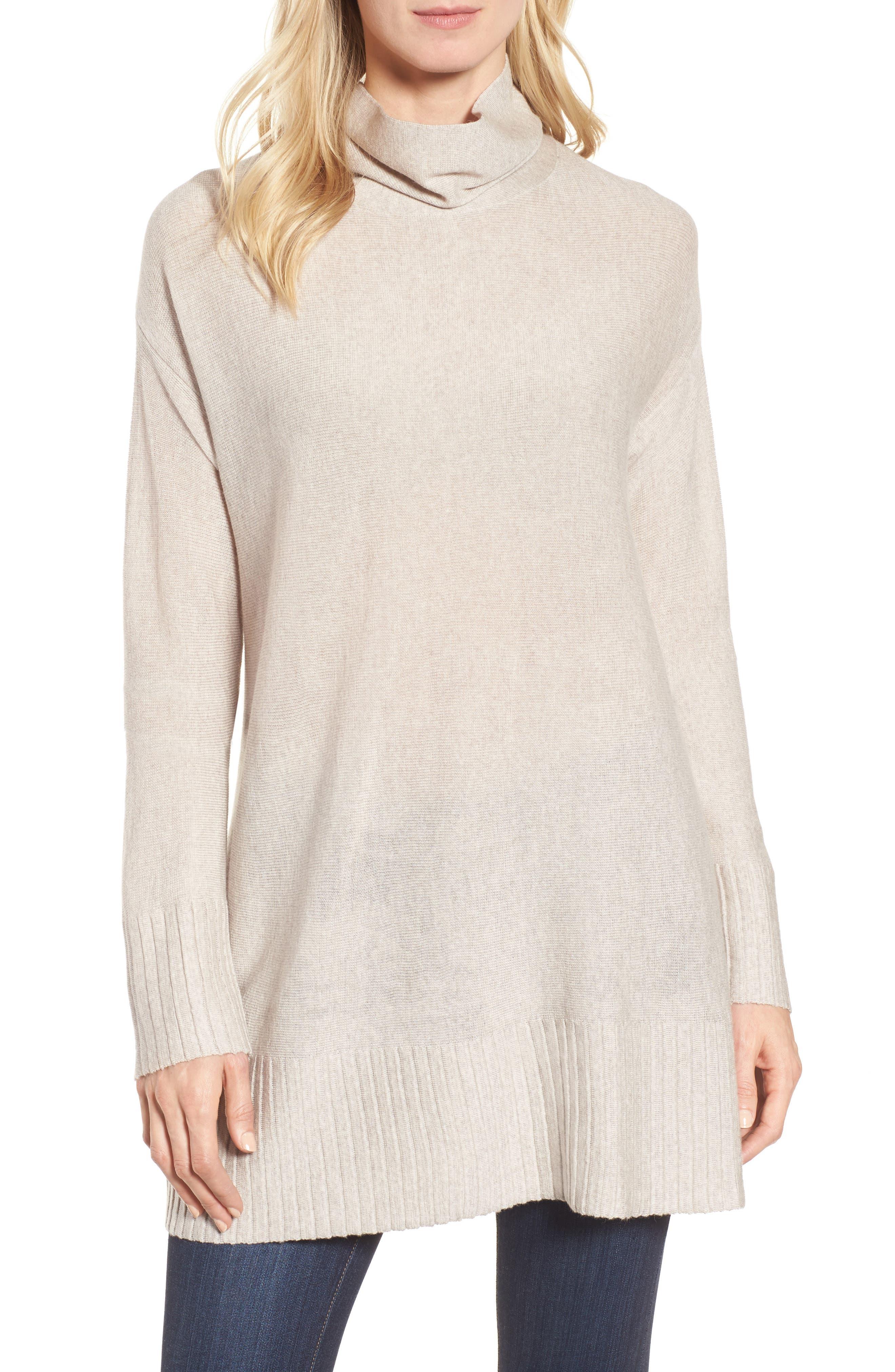 Merino Wool Tunic Sweater,                             Main thumbnail 1, color,