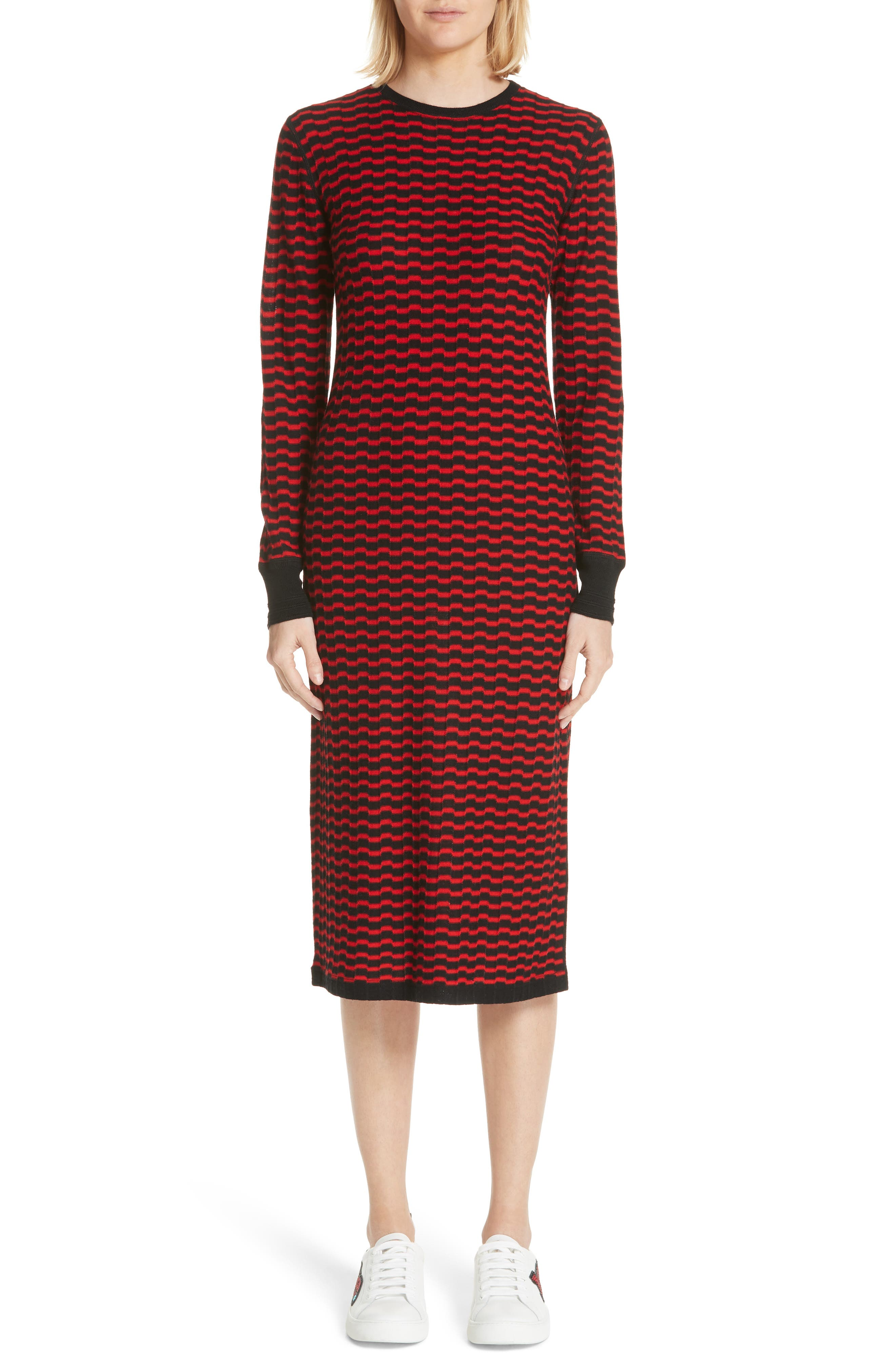 Marc Jacobs Stripe Wool Sweater-Dress, Red