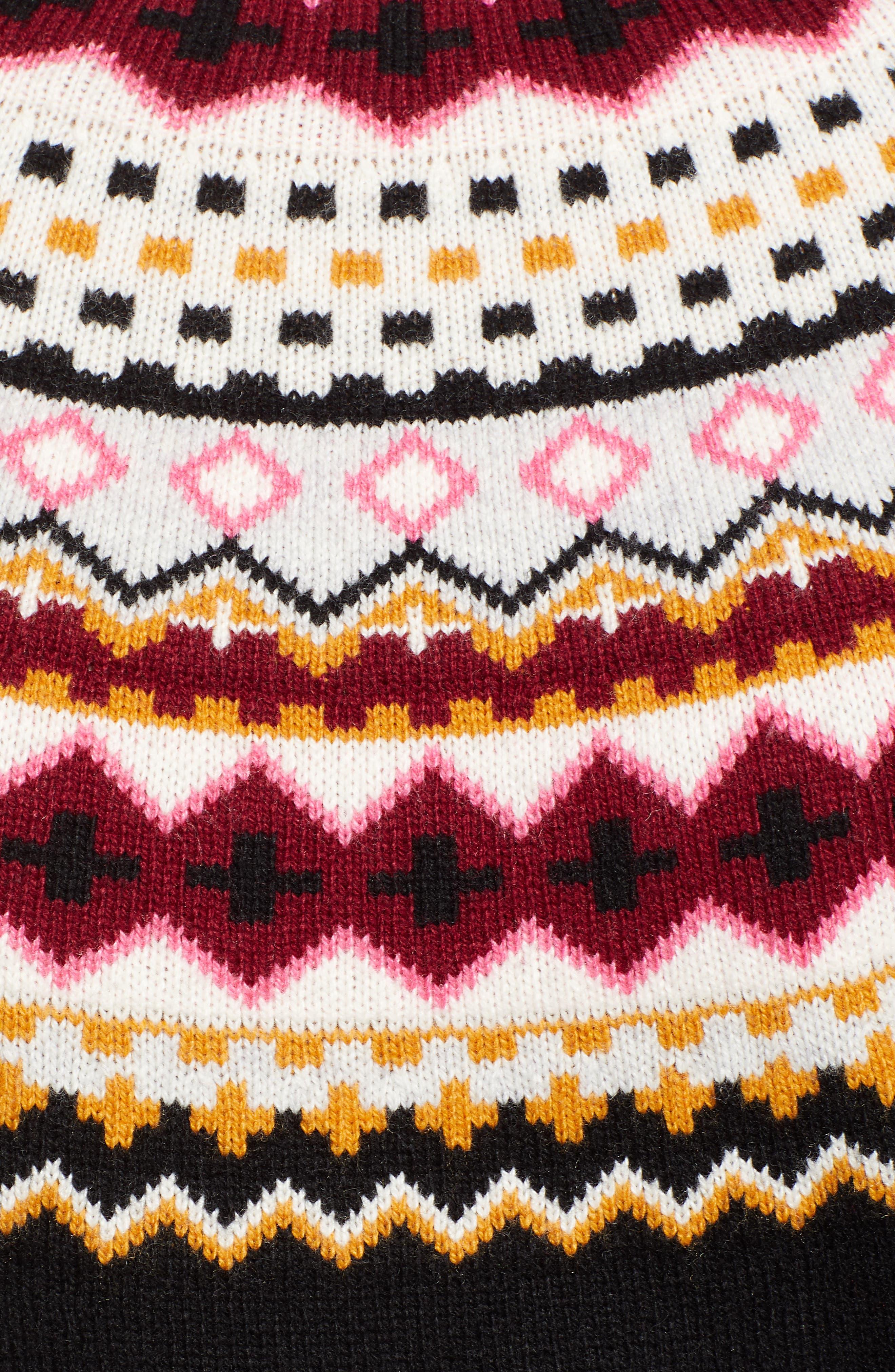Fair Isle Turtleneck Sweater,                             Alternate thumbnail 5, color,                             001