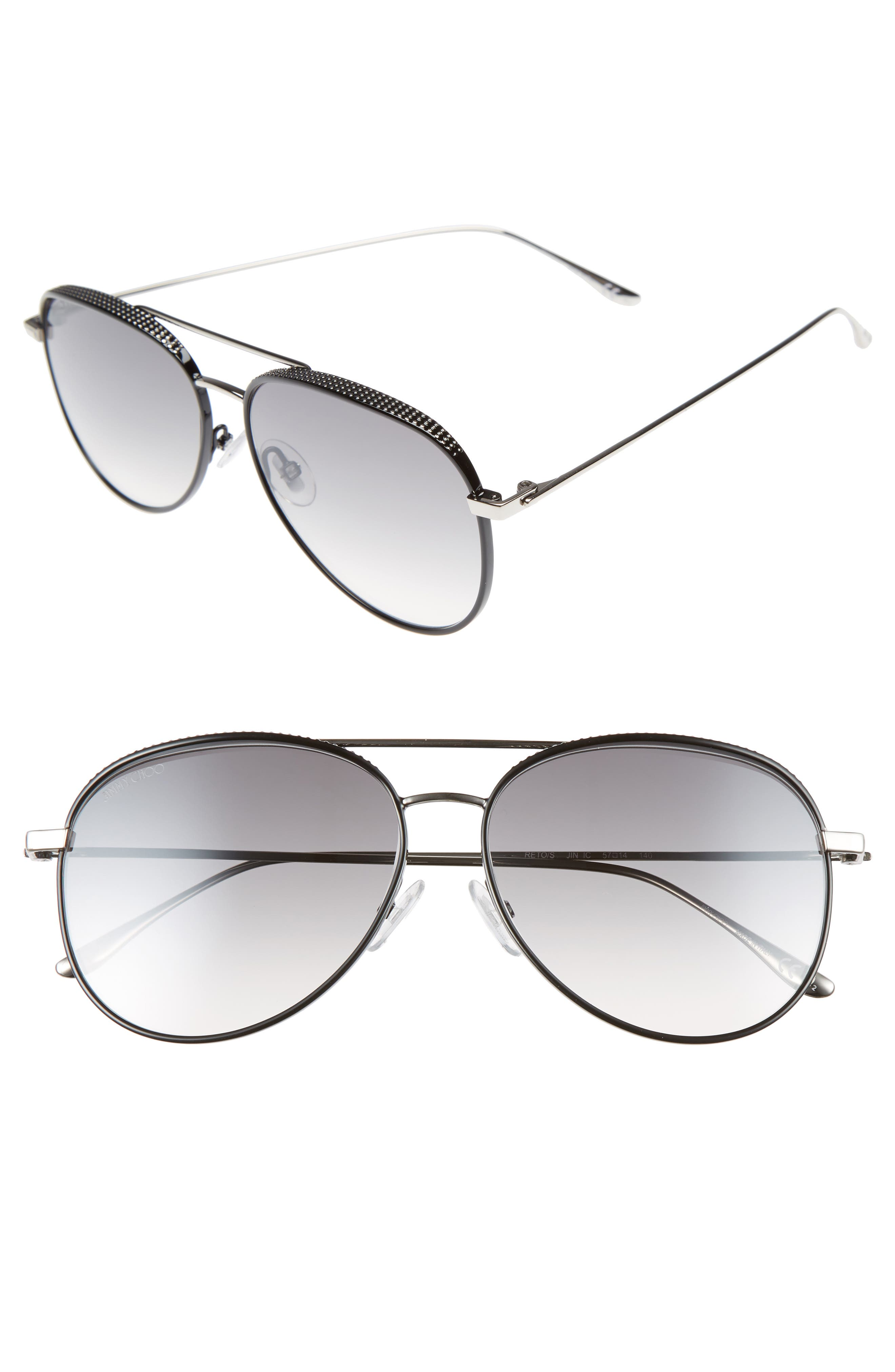 Reto 57mm Sunglasses,                             Main thumbnail 1, color,                             SHINY BLACK/ GREY SILVER