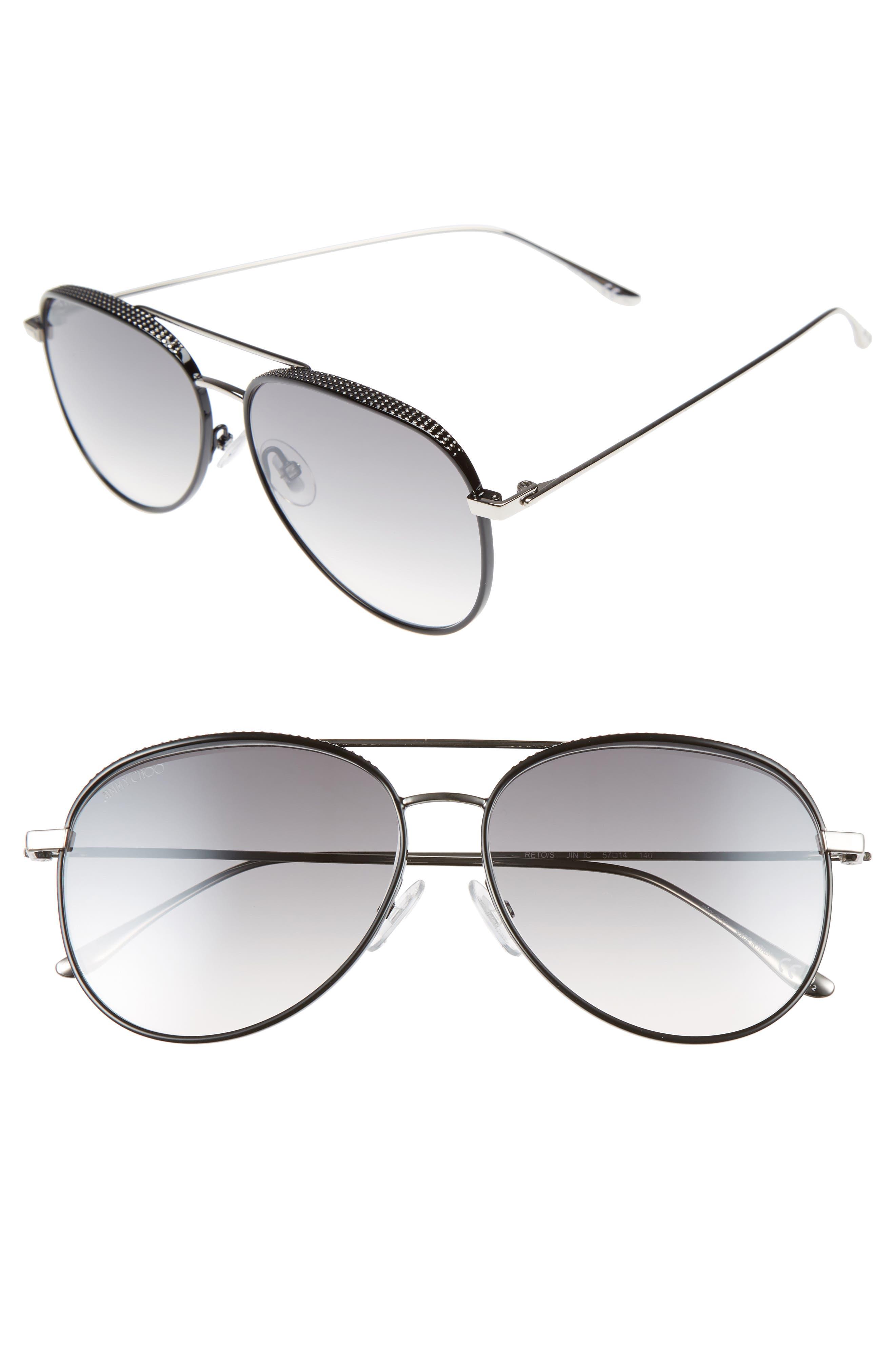 Reto 57mm Sunglasses,                         Main,                         color, SHINY BLACK/ GREY SILVER