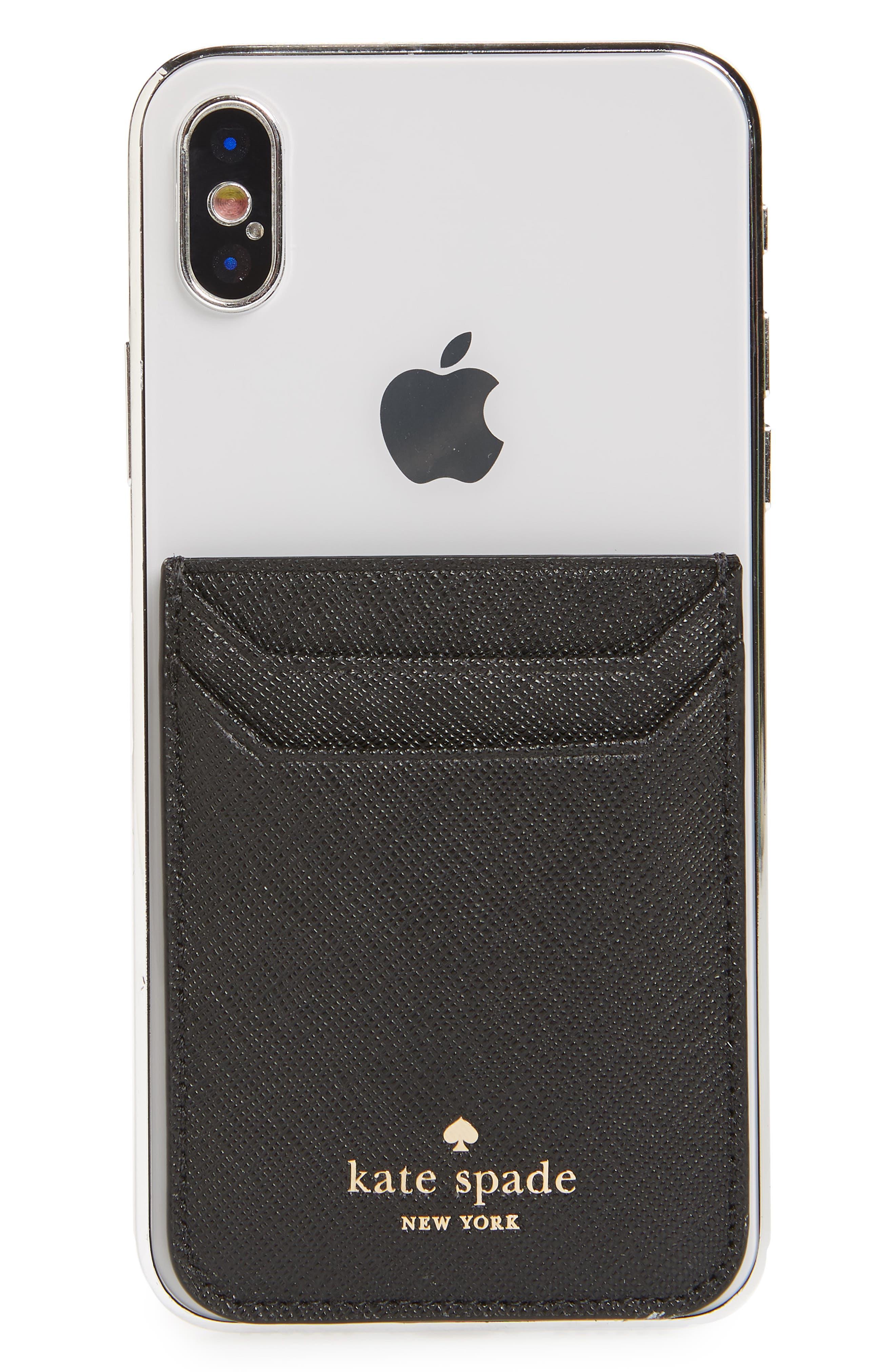 phone triple sticker pocket,                         Main,                         color, BLACK